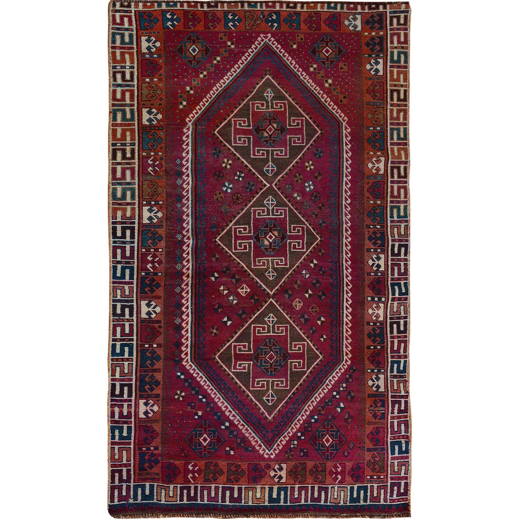 "4'7""X8'8"" Red Old And Worn Down Persian Shiraz Hand Knotted Oriental Rug moae7bcd"