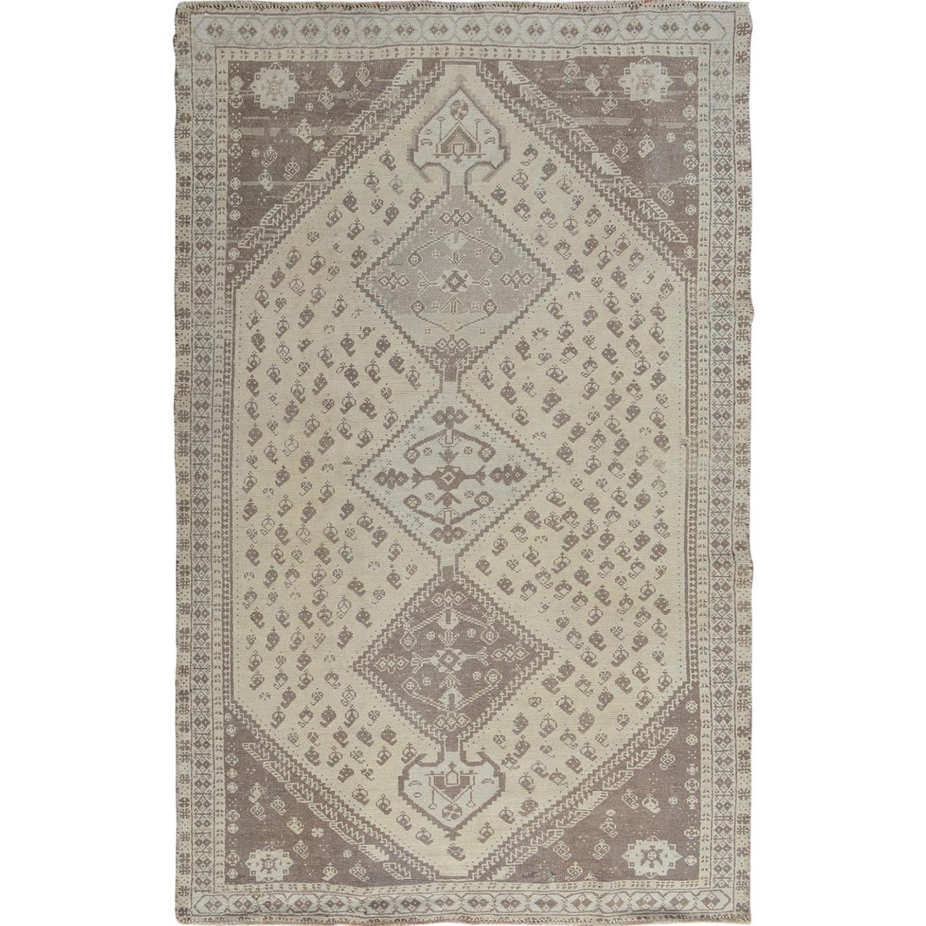 "5'X7'9"" Natural Colors Vintage And Worn Down Persian Shiraz Pure Wool Hand Knotted Oriental Rug moae7bc6"