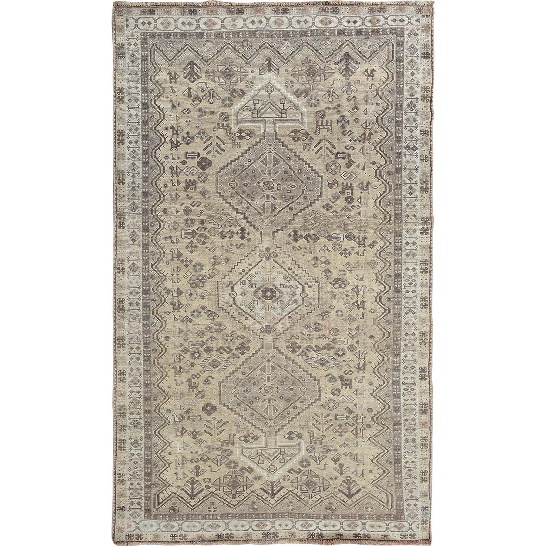 "4'10""X7'10""  Earth Tone Colors Old And Worn Down Persian Qashqai Pure Wool Hand Knotted Oriental Rug moae7bc7"