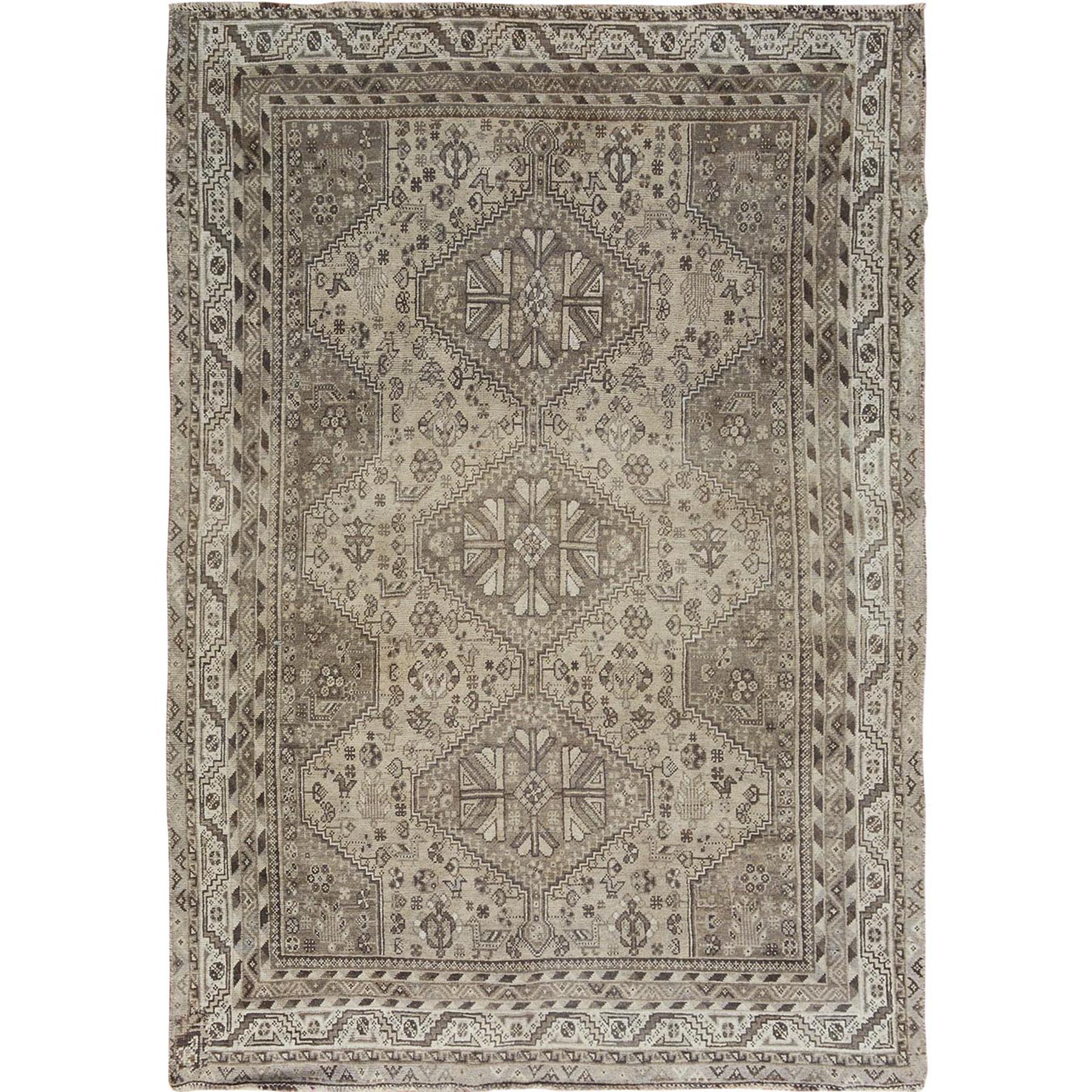"""5'8""""X8' Natural Colors Old And Worn Down Persian Shiraz Hand Knotted Oriental Rug moae7bdb"""