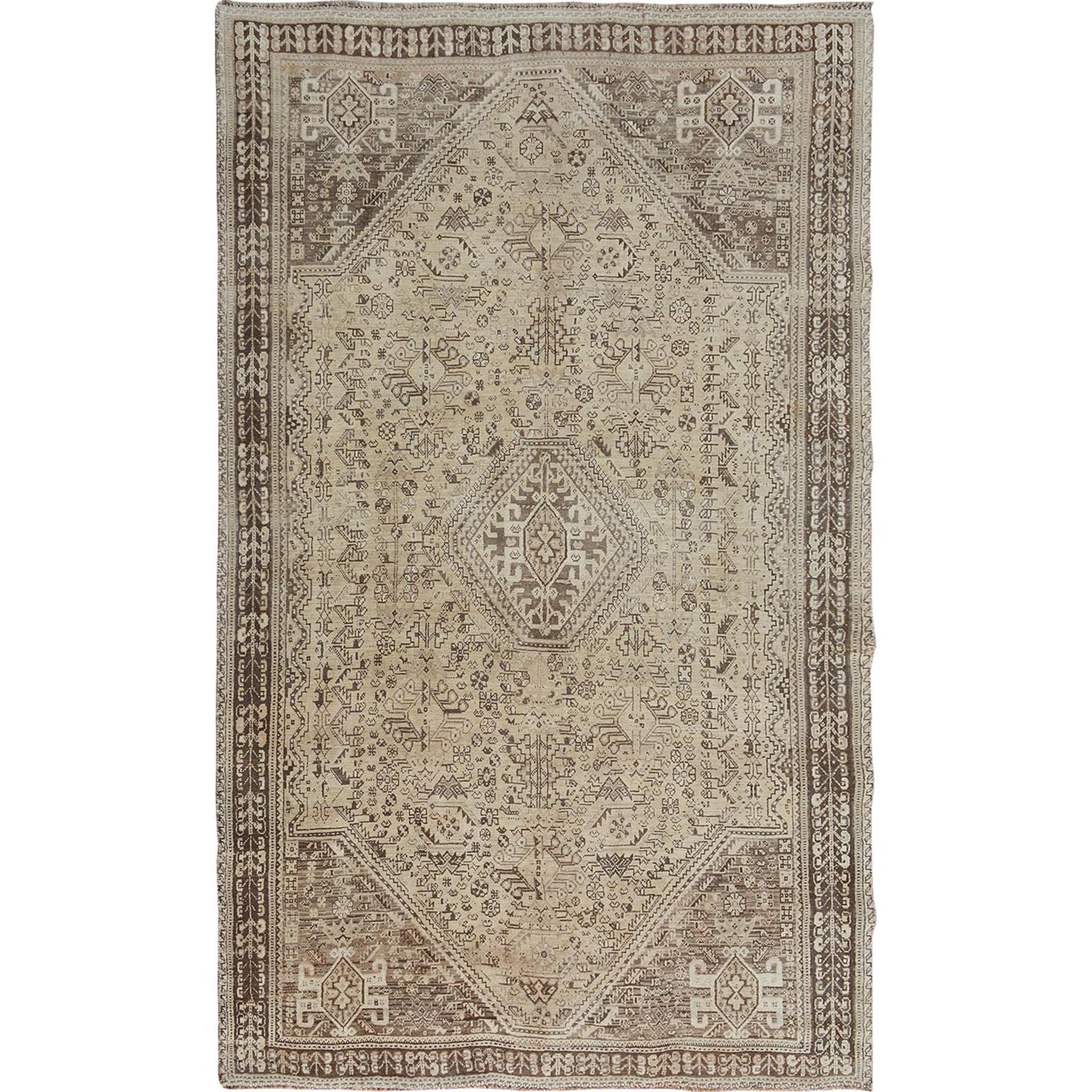 "5'4""X8'7"" Earth Tones Vintage And Worn Down Persian Qashqai Pure Wool Hand Knotted Oriental Rug moae7bdd"