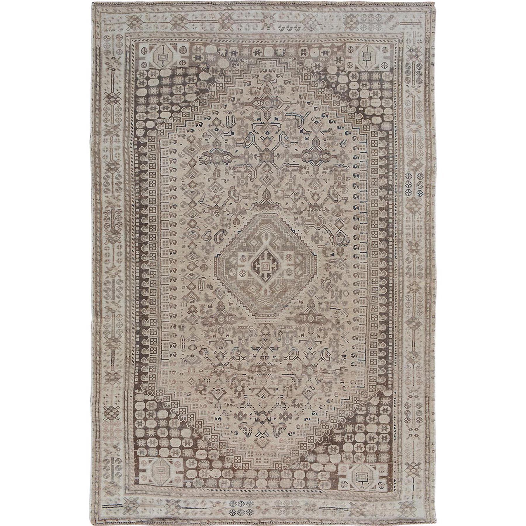"5'6""X8'2"" Natural Colors Old And Worn Down Persian Qashqai Pure Wool Hand Knotted Oriental Rug moae7bde"