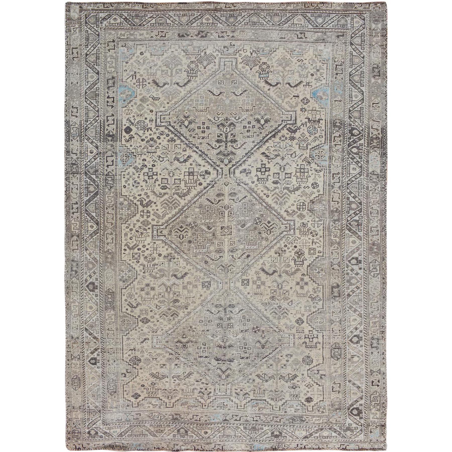 """7'1""""X9'7"""" Beige Vintage And Worn Down Persian Qashqai Pure Wool Hand Knotted Oriental Rug moae7bec"""
