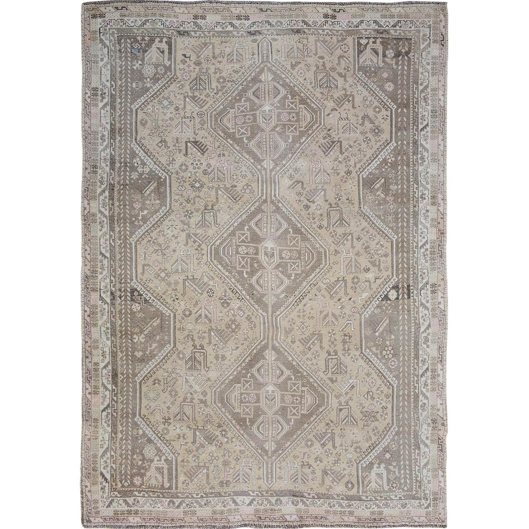 """7'1""""X9'10"""" Beige Vintage And Worn Down Persian Qashqai Pure Wool Hand Knotted Oriental Rug moae7bee"""