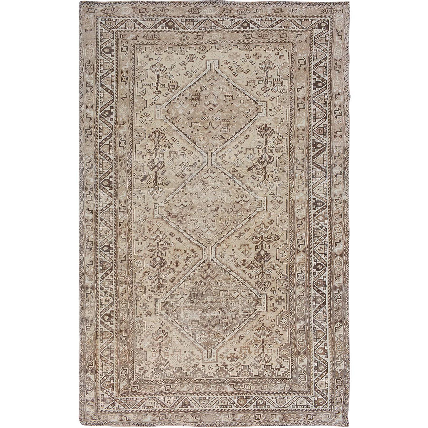 """6'8""""X10'3"""" Natural Colors Washed Out Vintage And Worn Down Persian Shiraz Hand Knotted Oriental Rug moae7be6"""