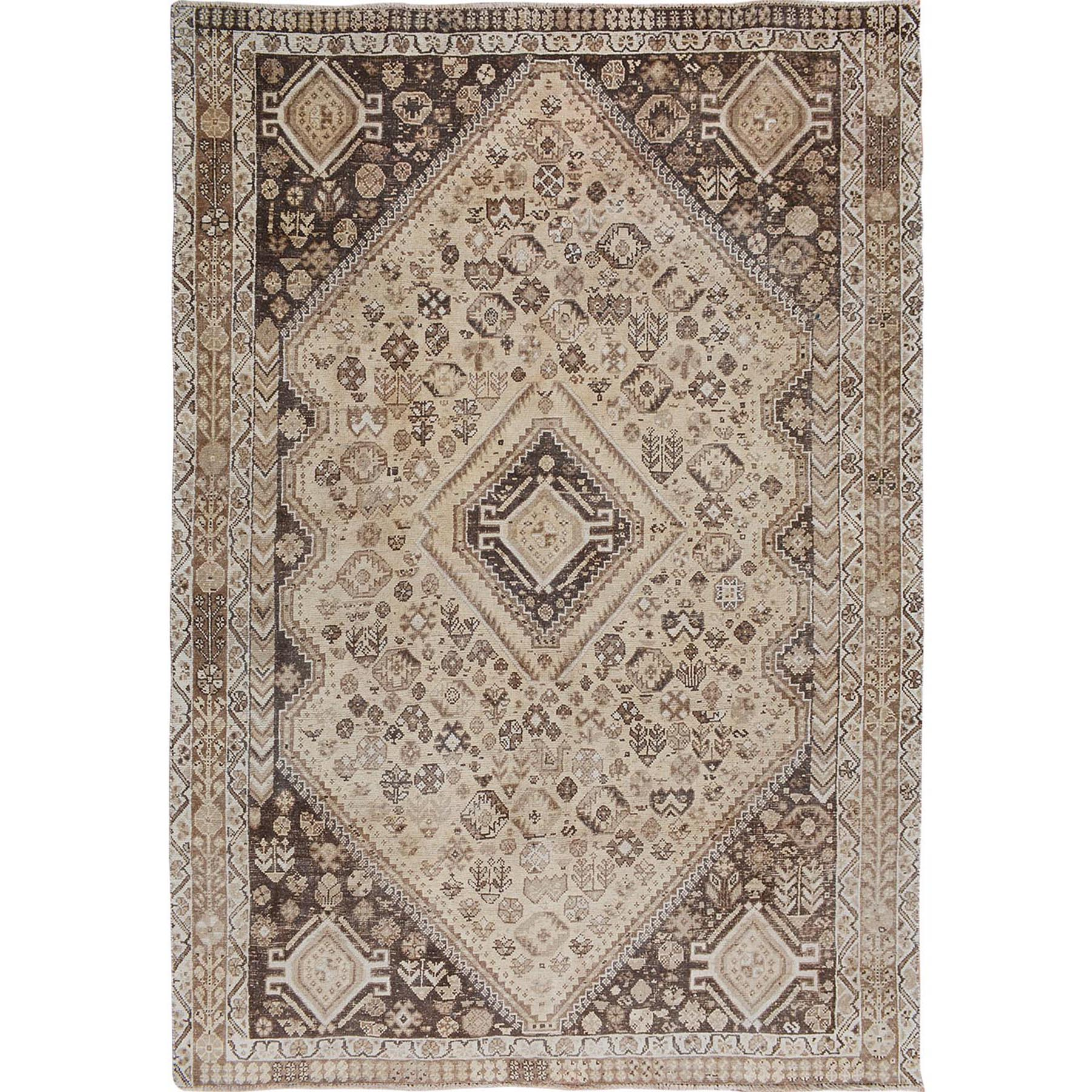 """7'3""""X9'4"""" Natural Colors Faded Vintage Persian Qashqai Worn Down Hand Knotted Oriental Rug moae7be7"""