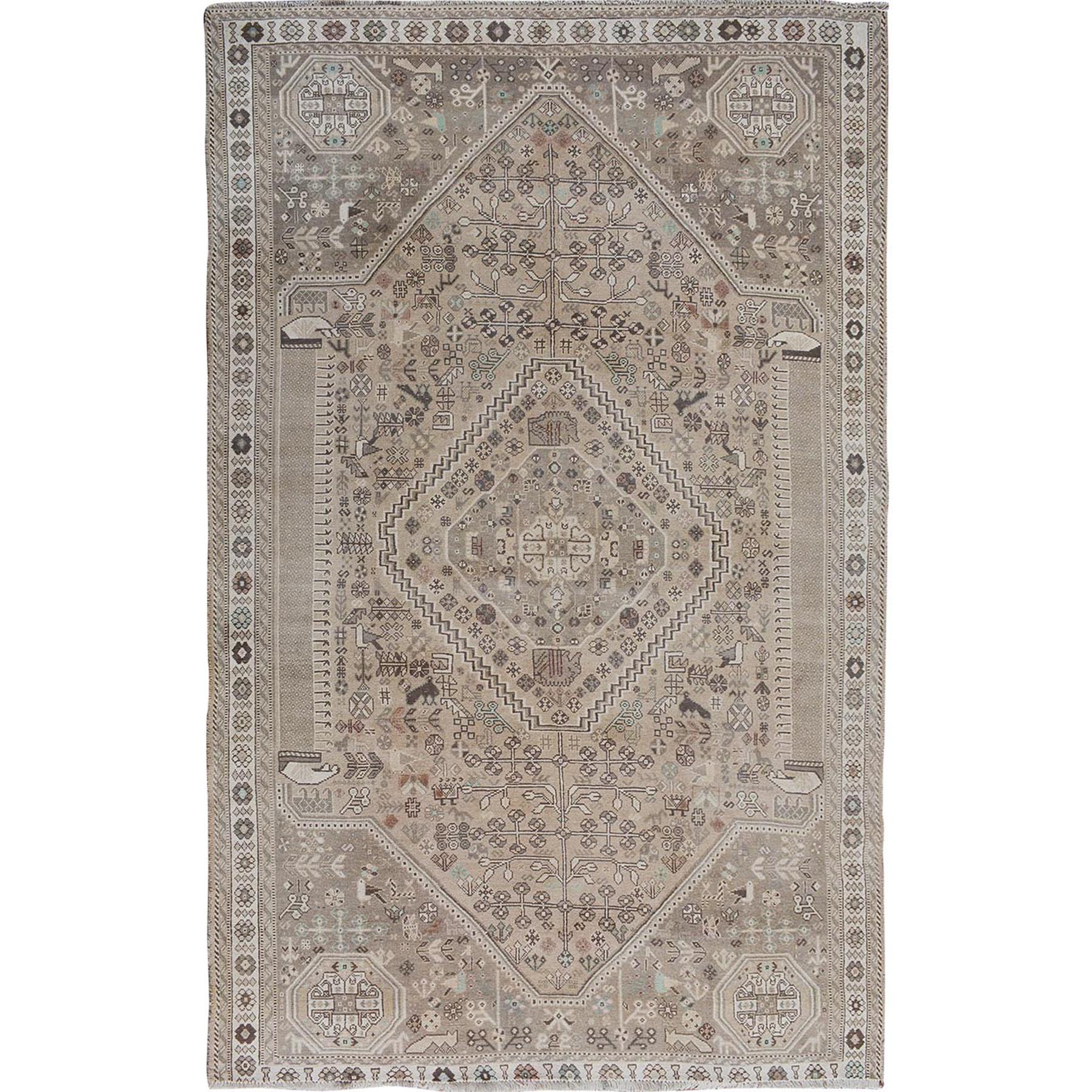 """6'3""""X9'4"""" Distressed Colors Vintage And Worn Down Persian Shiraz Pure Wool Hand Knotted Oriental Rug moae7be8"""