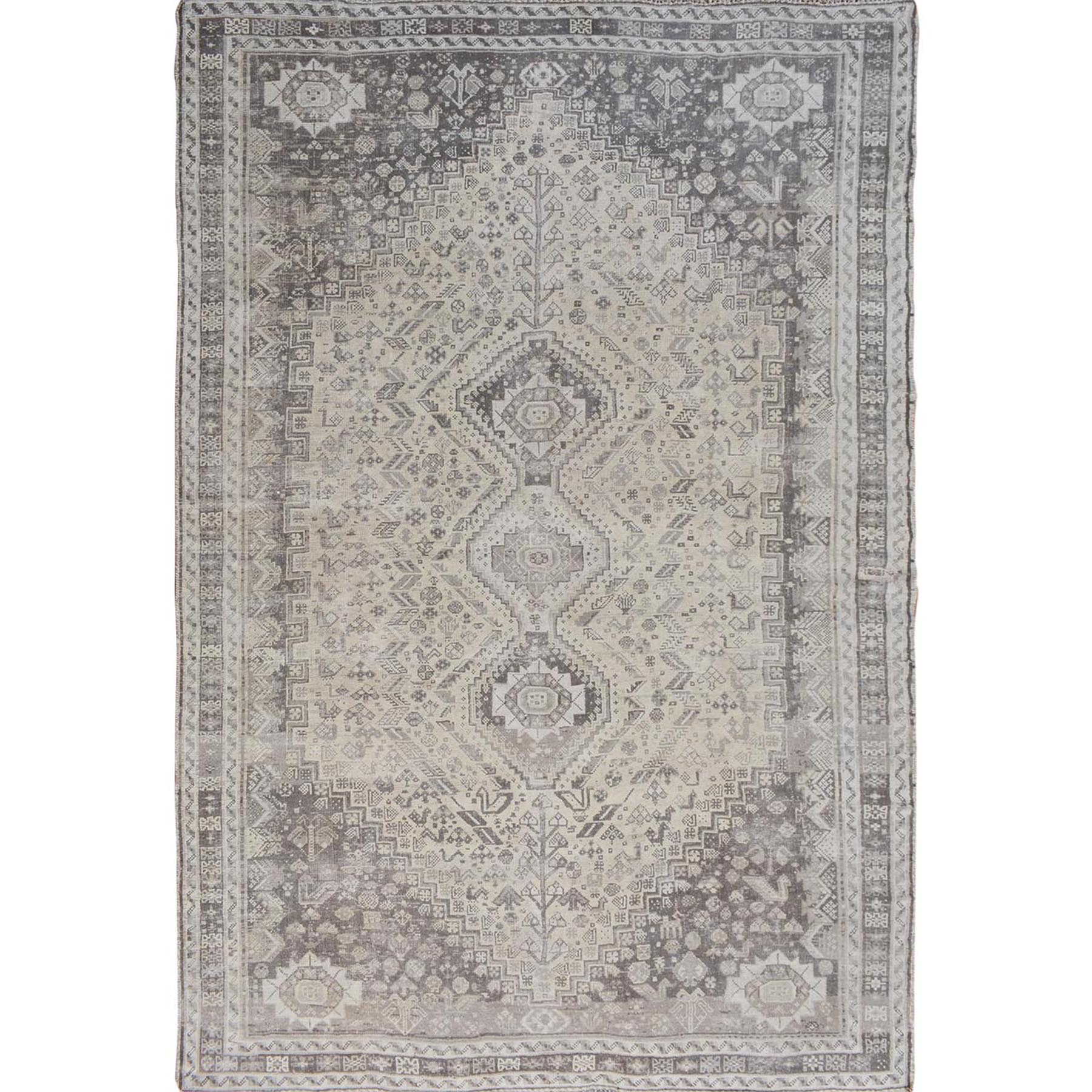 """6'10""""X10' Distressed Colors Vintage Persian Shiraz Worn Down Pure Wool Hand Knotted Oriental Rug moae7b6e"""