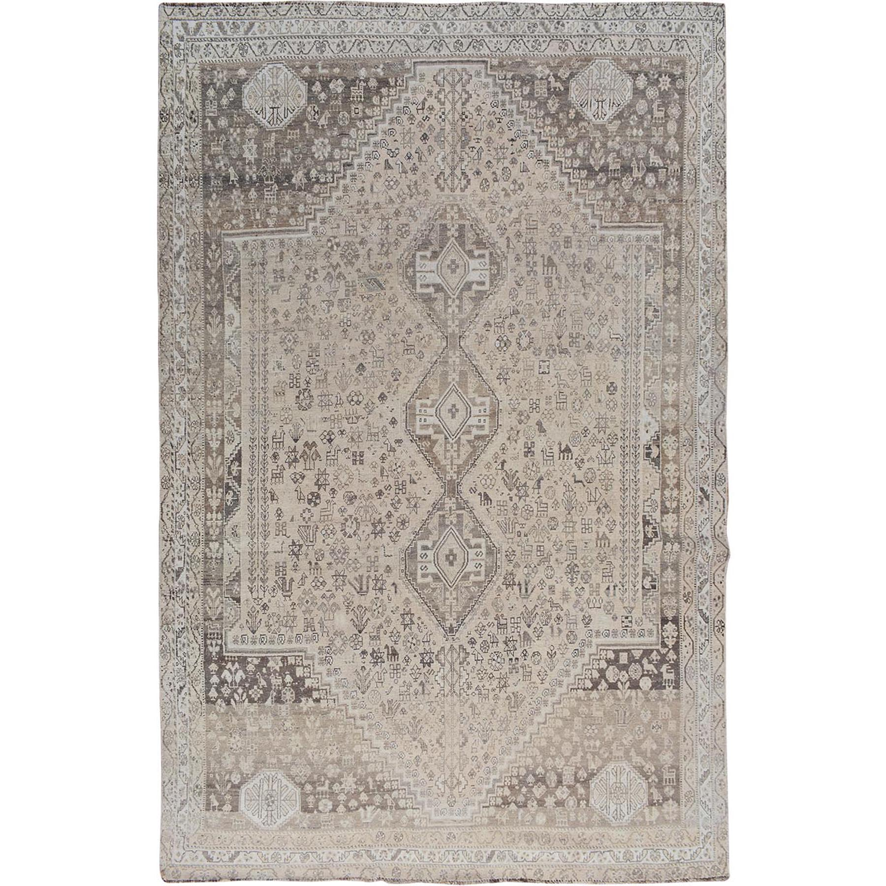 """7'5""""X10'2"""" Beige Vintage And Worn Down Persian Qashqai Pure Wool Hand Knotted Oriental Rug moae7b66"""