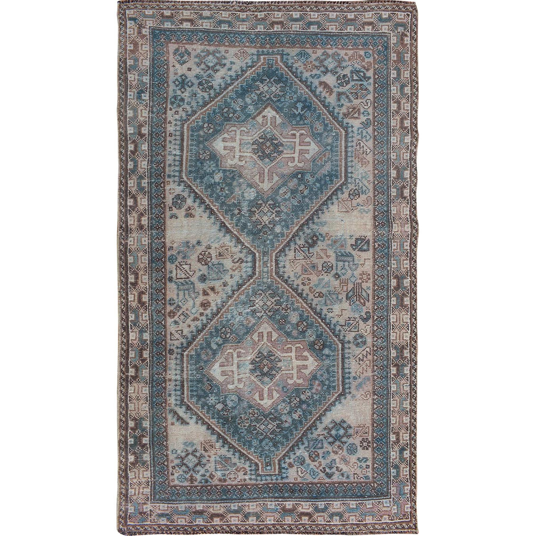 """4'4""""X7' Beige Worn Down Vintage Persian Shiraz Pure Wool Hand Knotted Oriental Rug moae7b67"""