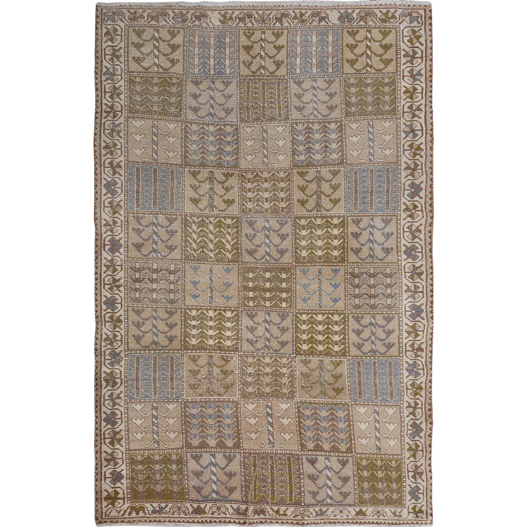 5'X9' Natural Colors Gallery Size Old And Worn Down Persian Bakhtiari Hand Knotted Oriental Rug moae7b69