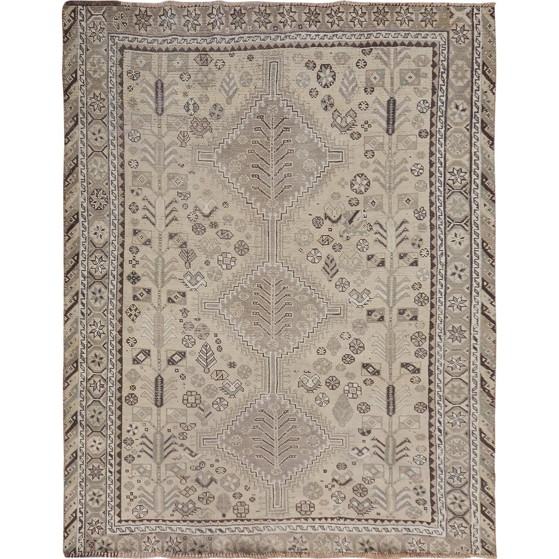 """5'5""""X6'3"""" Natural Colors Worn Down Vintage Persian Qashqai Pure Wool Hand Knotted Oriental Rug moae7b7b"""