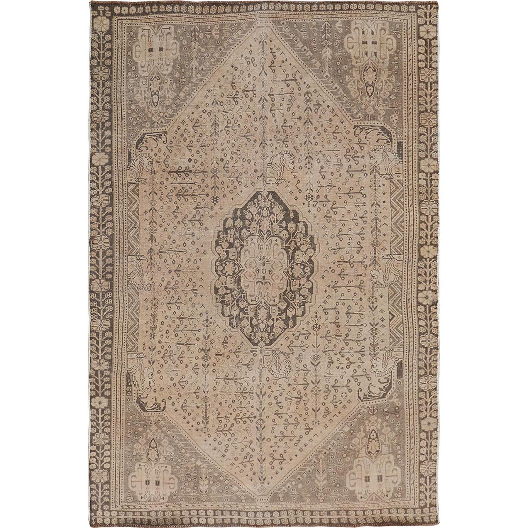 """4'10""""X8'3"""" Natural Colors Old And Worn Down Persian Qashqai Pure Wool Hand Knotted Oriental Rug moae7b77"""