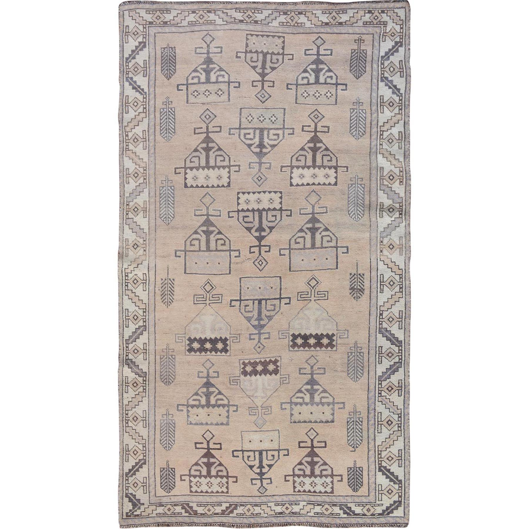 """4'9""""X9' Natural Colors Gallery Size Old And Worn Down Persian Shiraz Hand Knotted Oriental Rug moae7b79"""