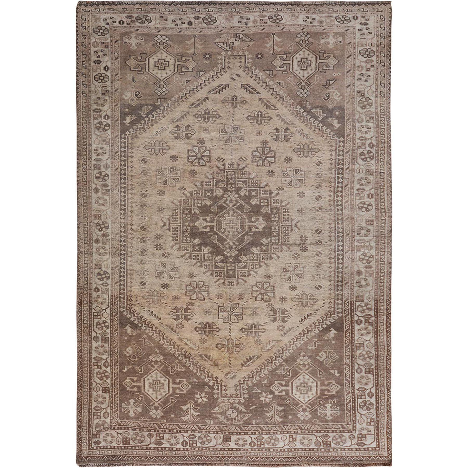 """5'4""""X8'1"""" Beige Worn Down And Old Persian Qashqai Pure Wool Hand Knotted Oriental Rug moae7b8a"""