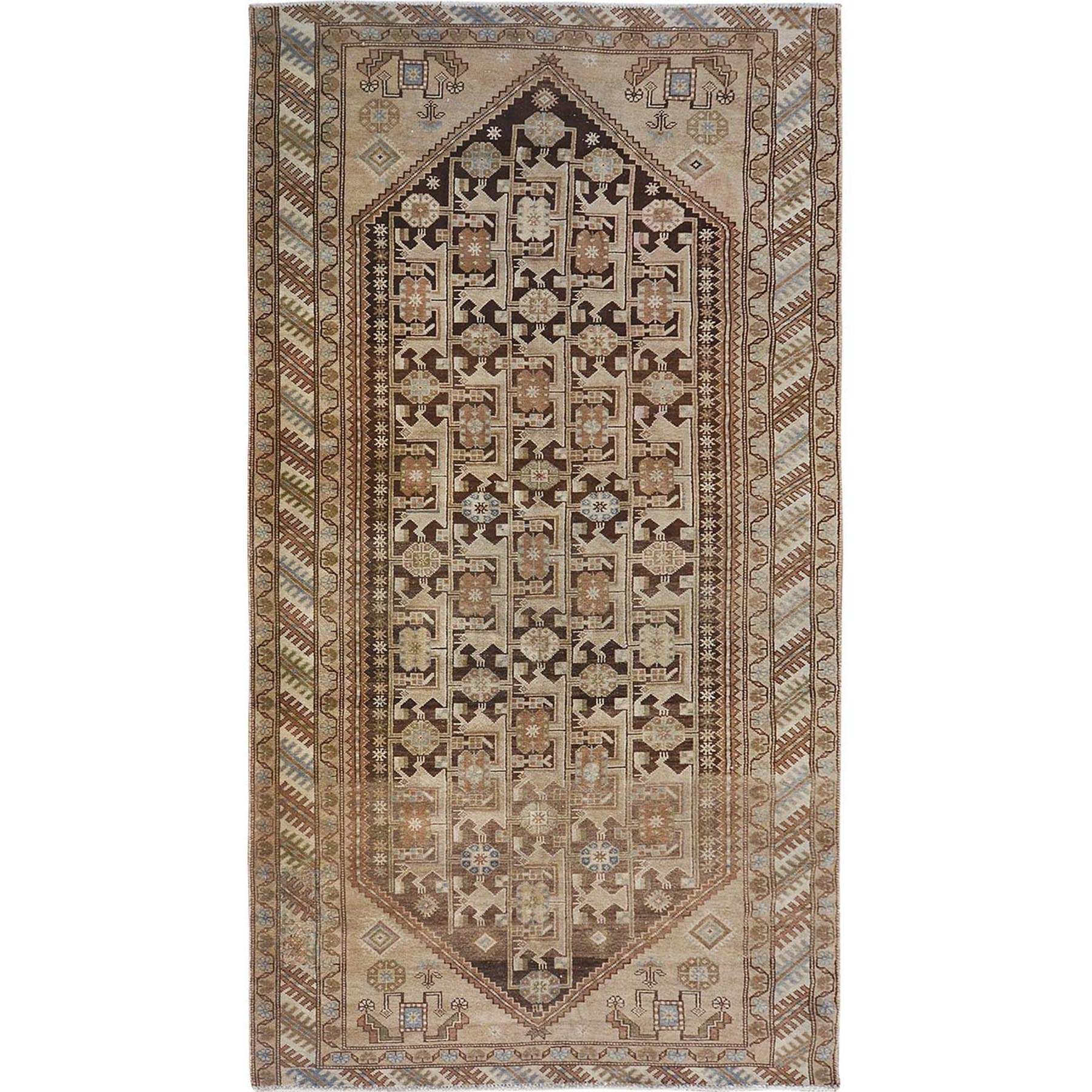 """5'X9'4"""" Earth Tones Colors Worn Down Vintage Persian Qashqai Pure Wool Hand Knotted Oriental Rug moae7b86"""
