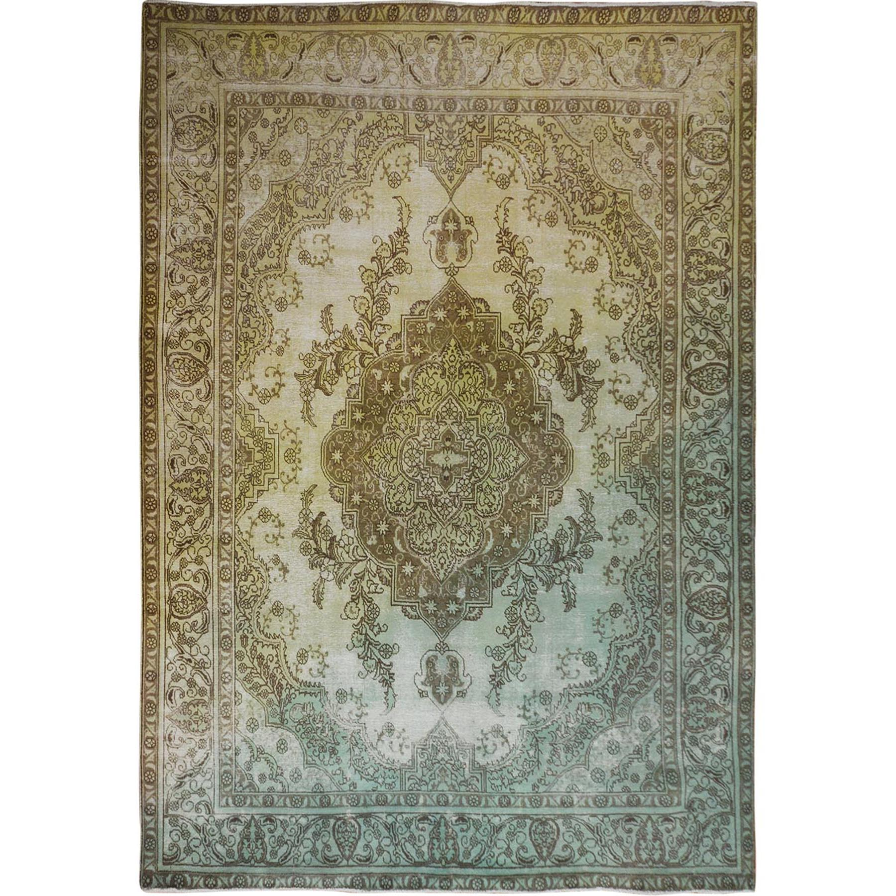"""9'7""""x12' Yellow Overdyed And Vintage Worn Down Persian Tabriz Pure Wool Oriental Rug"""
