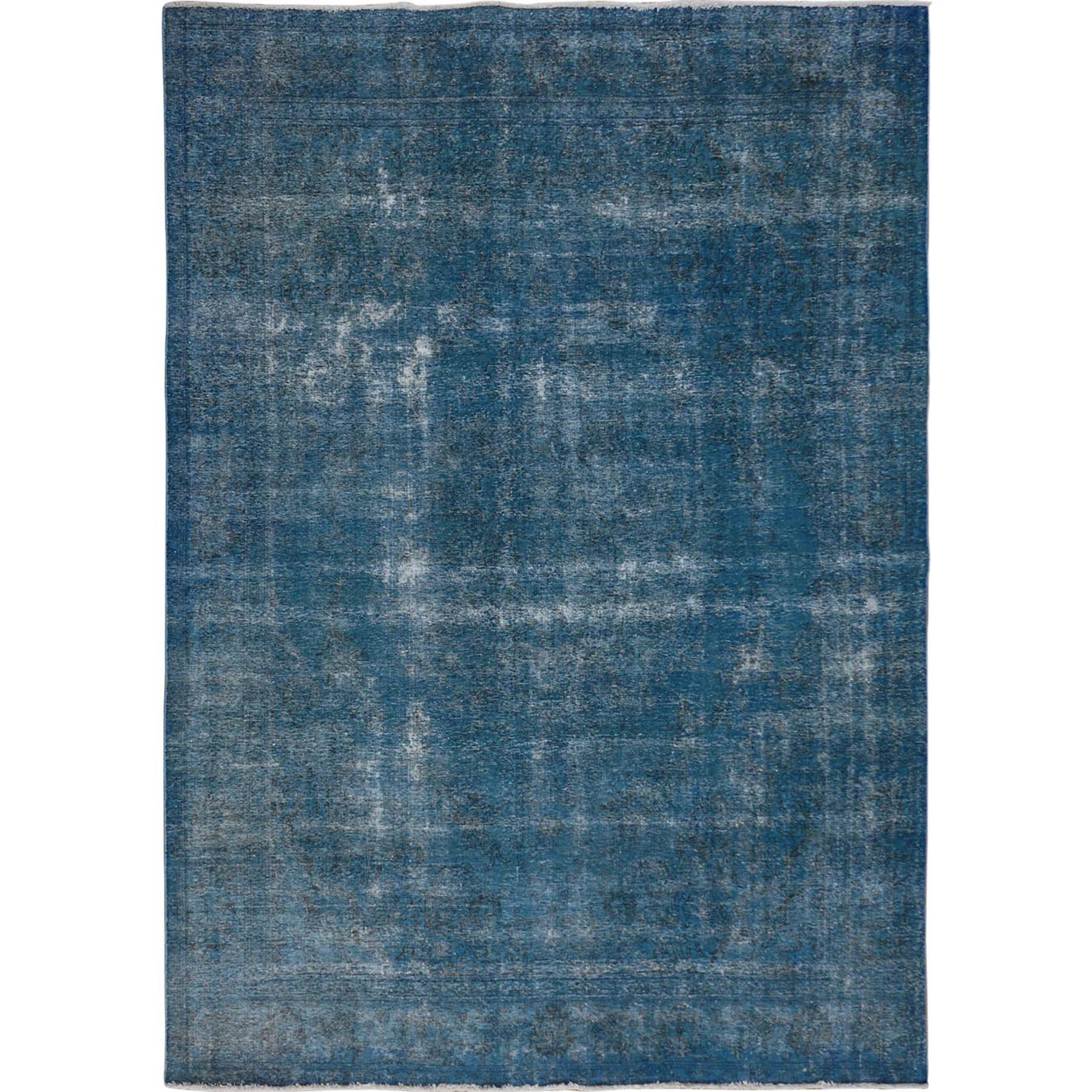 """9'6""""X12'7"""" Blue Overdyed Worn Down And Vintage Persian Tabriz Hand Knotted Oriental Rug moae7b9a"""