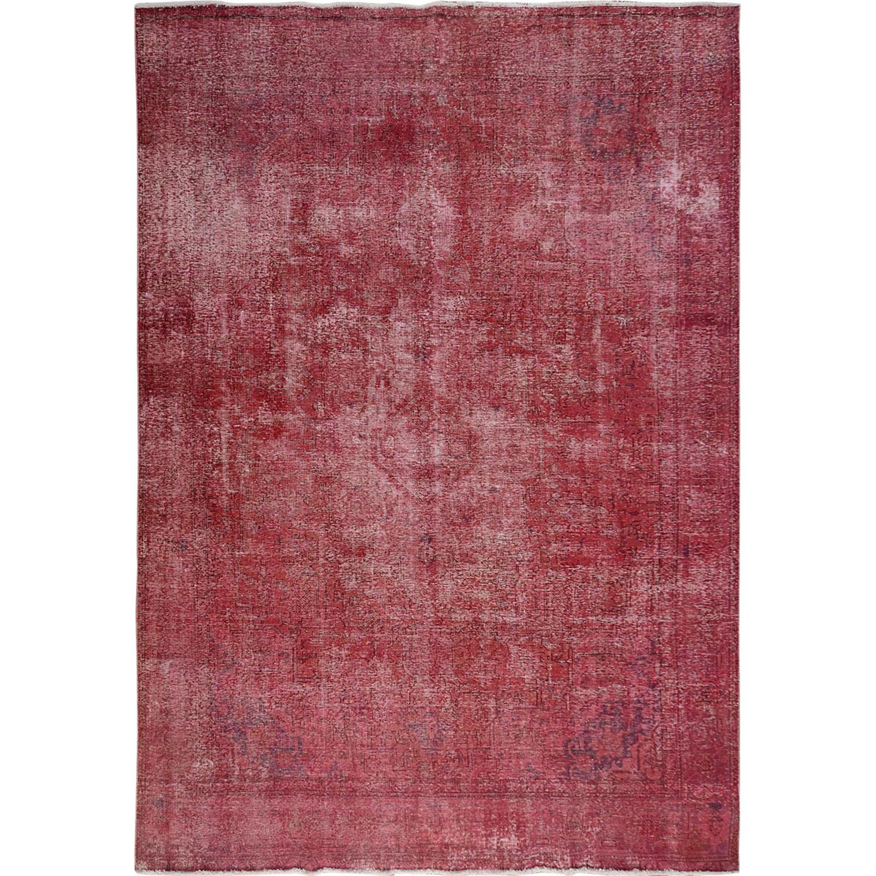 "9'3""X12'7"" Pink Overdyed Worn Down And Vintage Persian Tabriz Hand Knotted Oriental Rug moae7b9e"