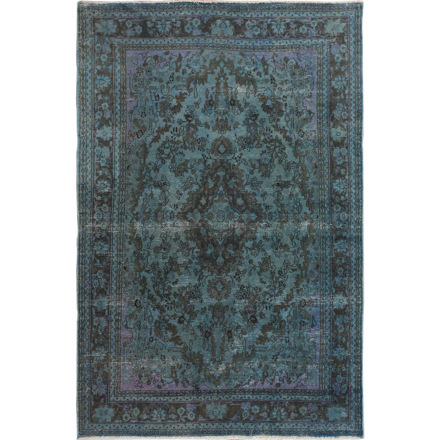 "6'5""X9'6"" Teal Overdyed Vintage And Worn Down Persian Hamadan Hand Knotted Pure Wool Oriental Rug moae7ce6"