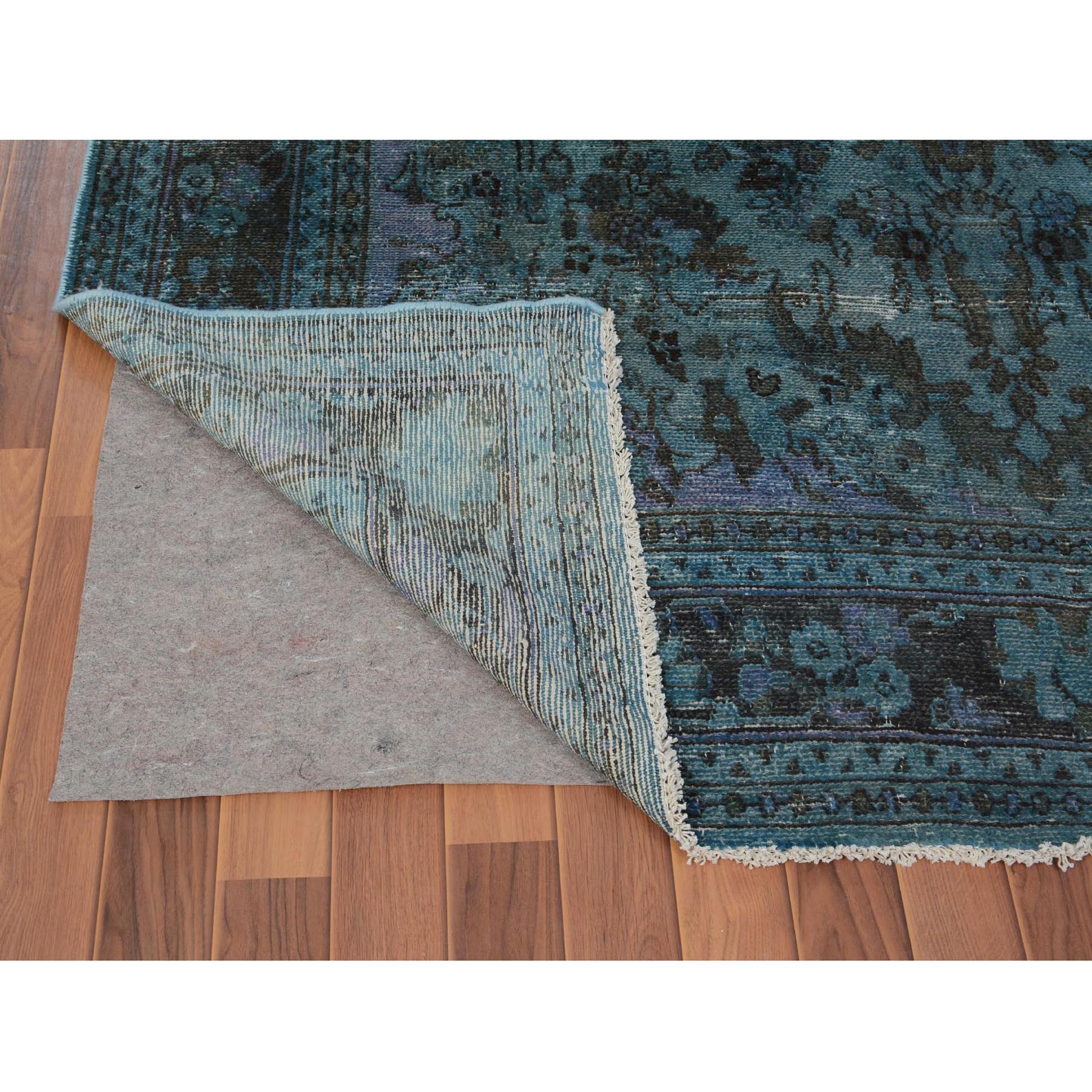 6-5 x9-6  Teal Overdyed Vintage and Worn Down Persian Hamadan Hand Knotted Pure Wool Oriental Rug