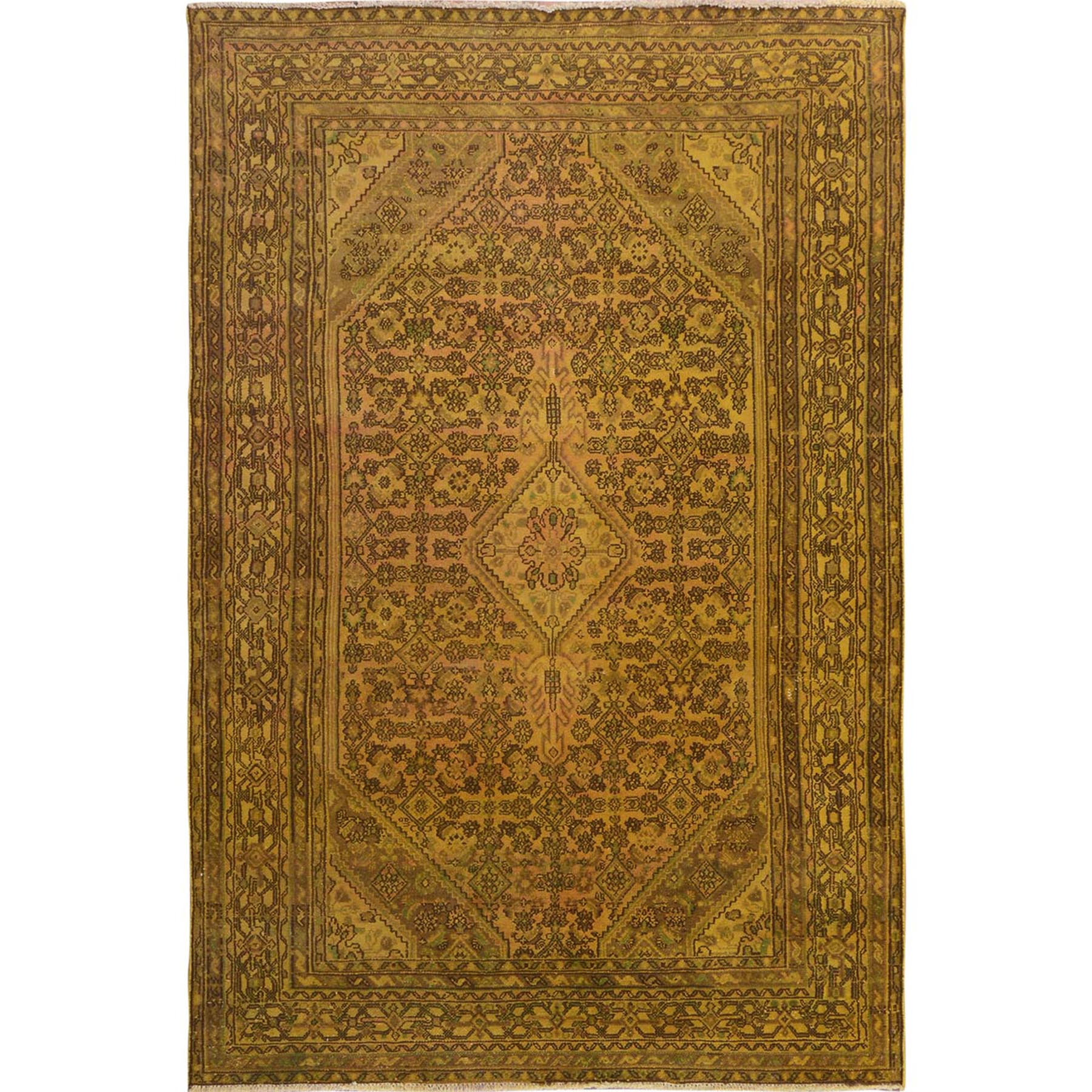 """6'10""""x10'3"""" Yellow Overdyed Vintage Bibikabad Persian Worn Down Hand Knotted Pure Wool Oriental Rug"""
