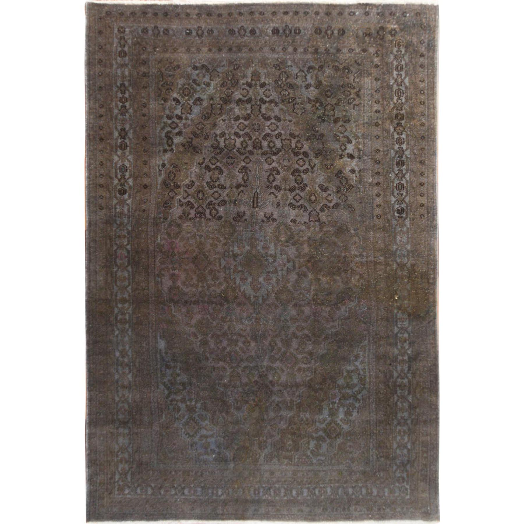 """6'5""""X9'6"""" Gray Overdyed Vintage And Worn Down Persian Bibikabad Hand Knotted Oriental Rug moae7c67"""