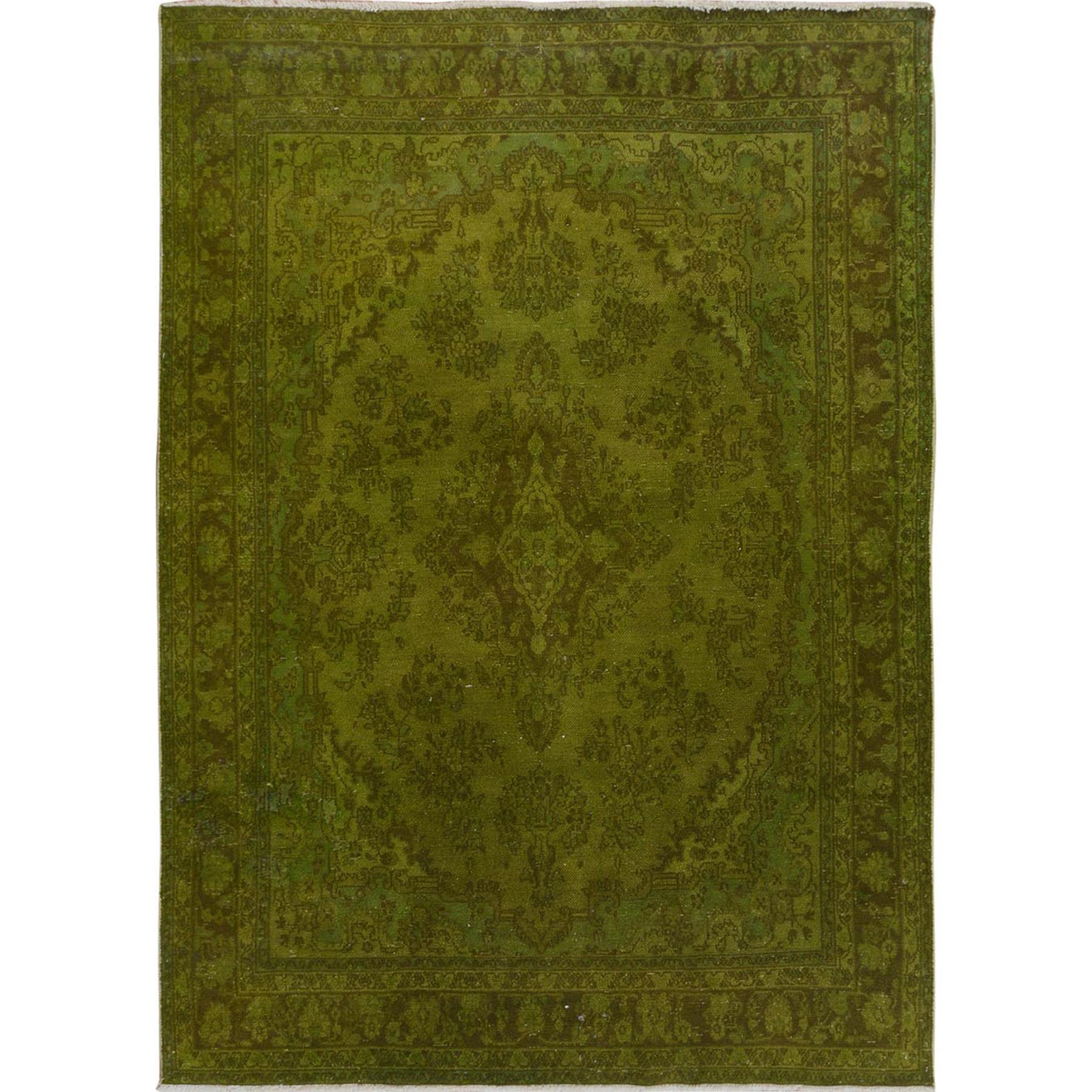 "6'10""X10' Green Overdyed And Vintage Worn Down Persian Bibikabad Hand Knotted Oriental Rug moae7c7a"