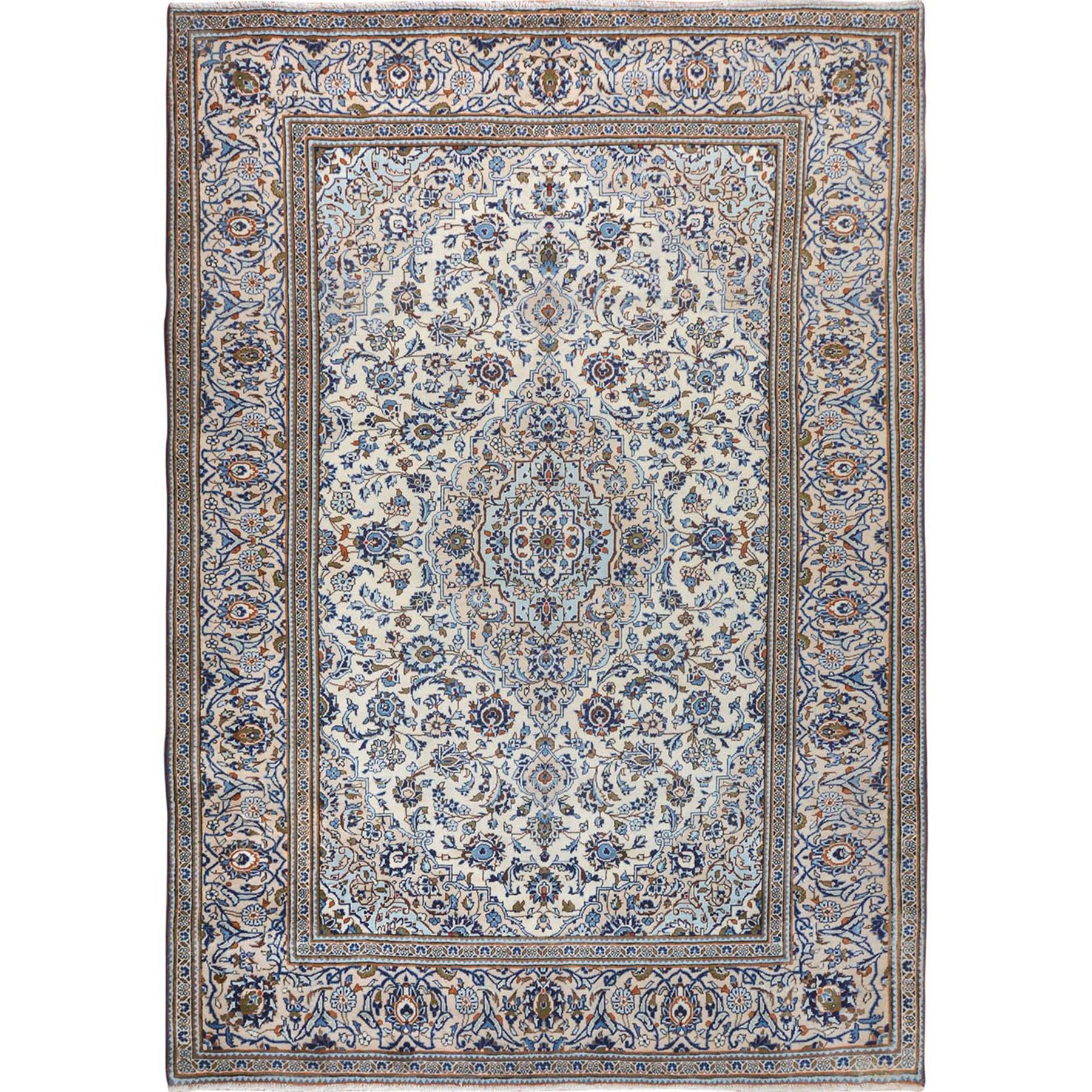 8'X11' Ivory Persian Kashan Medallion Exc Cond Clean Semi Antique Full Pile Hand Knotted Pure Wool Oriental Rug moae7c80