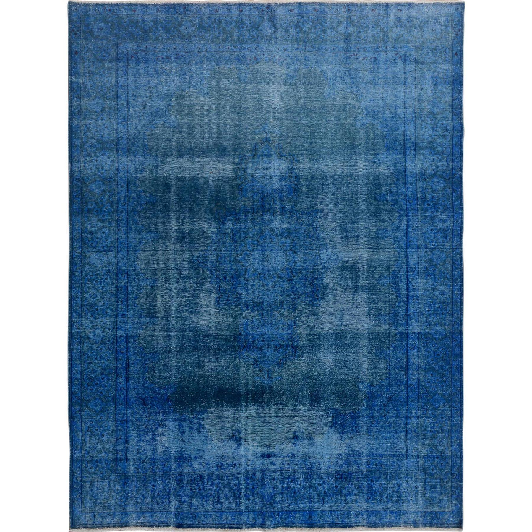 """7'X9'3"""" Blue Overdyed Clean Worn Down Vintage Persian Kerman Pure Wool Hand Knotted Oriental Rug moae7d07"""