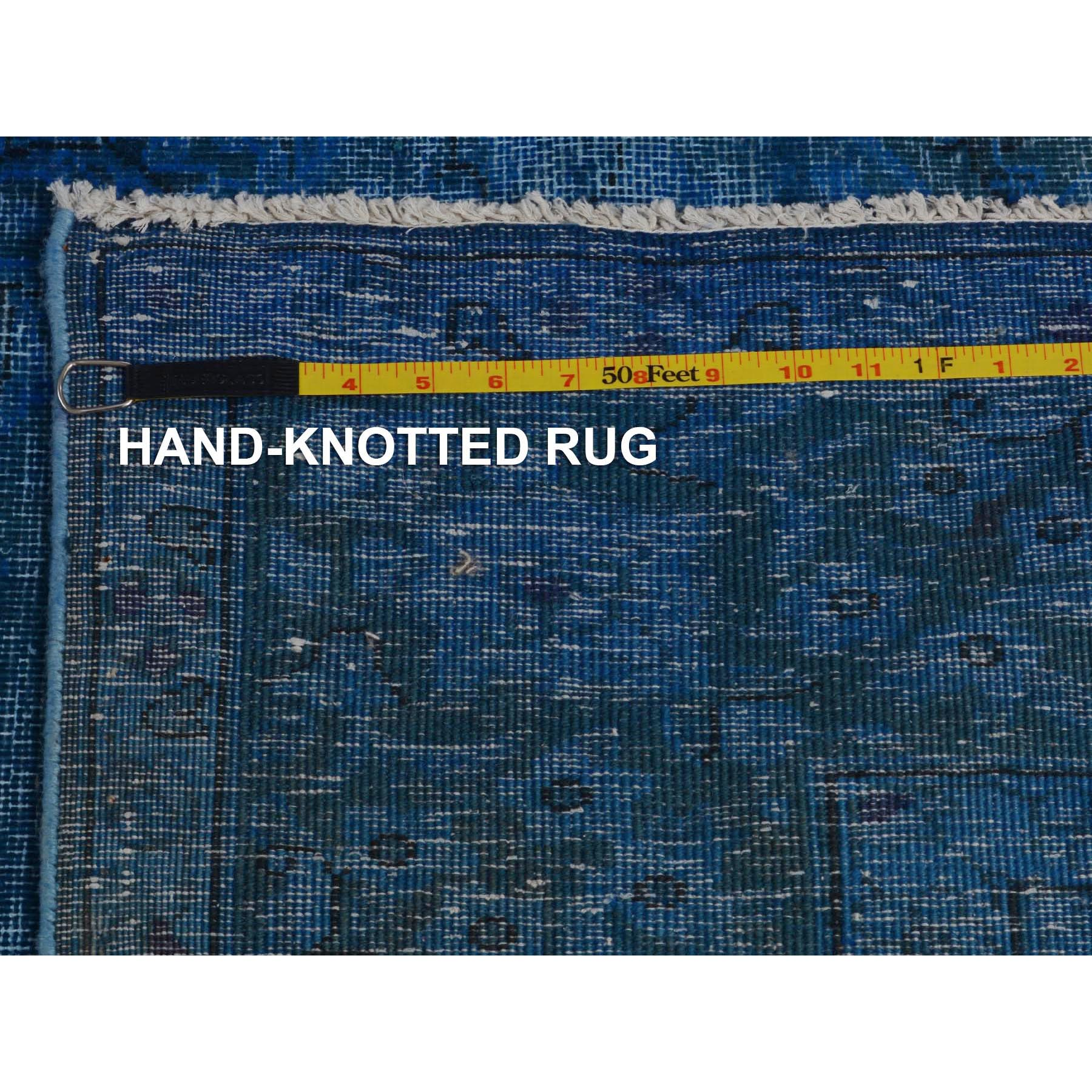 """7'x9'3"""" Blue Overdyed Clean Worn Down Vintage Persian Kerman Pure Wool Hand Knotted Oriental Rug"""