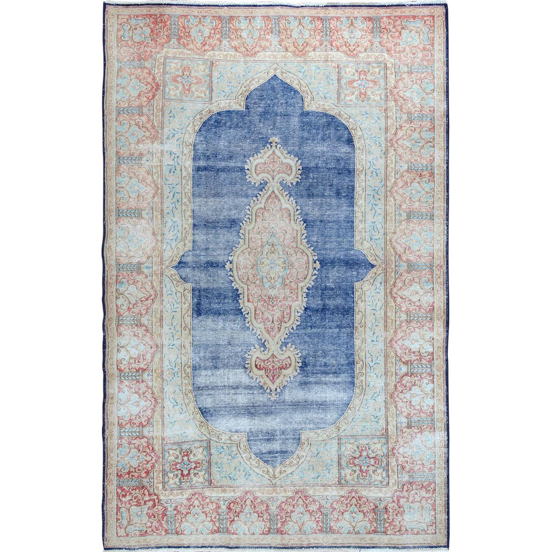 """4'10""""X7'9"""" Navy Blue Worn Down And Vintage Clean Persian Kerman Pure Wool Hand Knotted Oriental Rug moae7da0"""