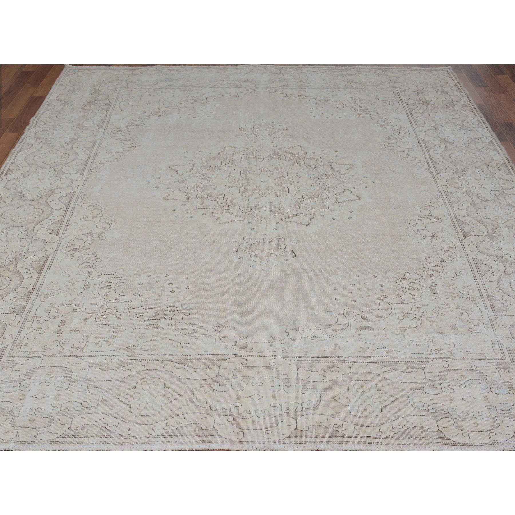 "8'x10'5"" Beige Washed Out and Worn Down Vintage Persian Kerman Pure Wool Hand Knotted Oriental Rug"