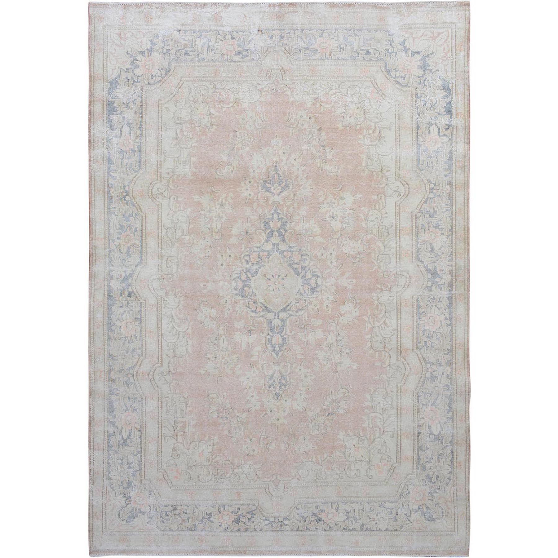 "6'5""X9'4"" Faded Coral Vintage And Worn Down Persian Kerman Hand Knotted Pure Wool Oriental Rug moae7dca"