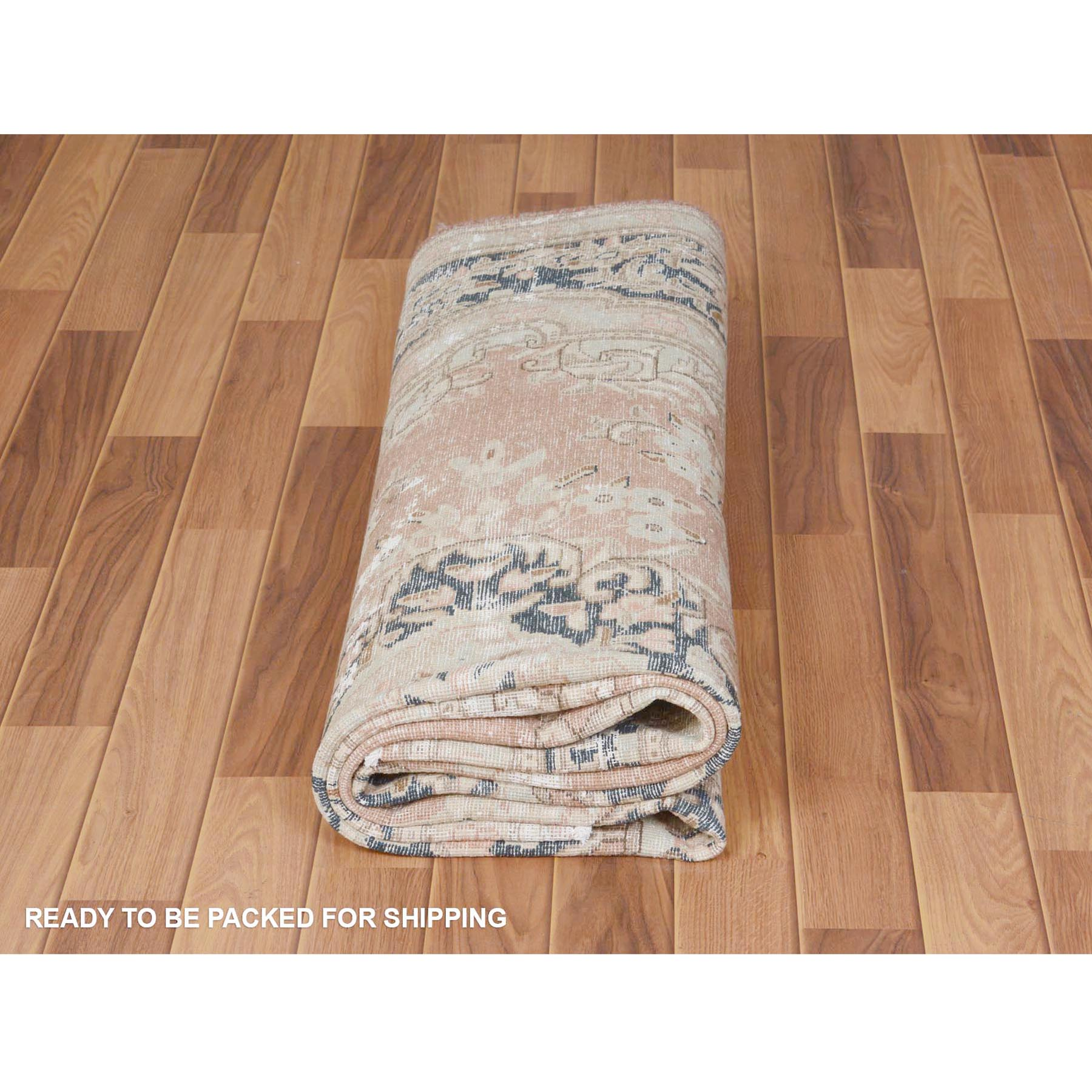 "6'5""x9'4"" Faded Coral Vintage and Worn Down Persian Kerman Hand Knotted Pure Wool Oriental Rug"