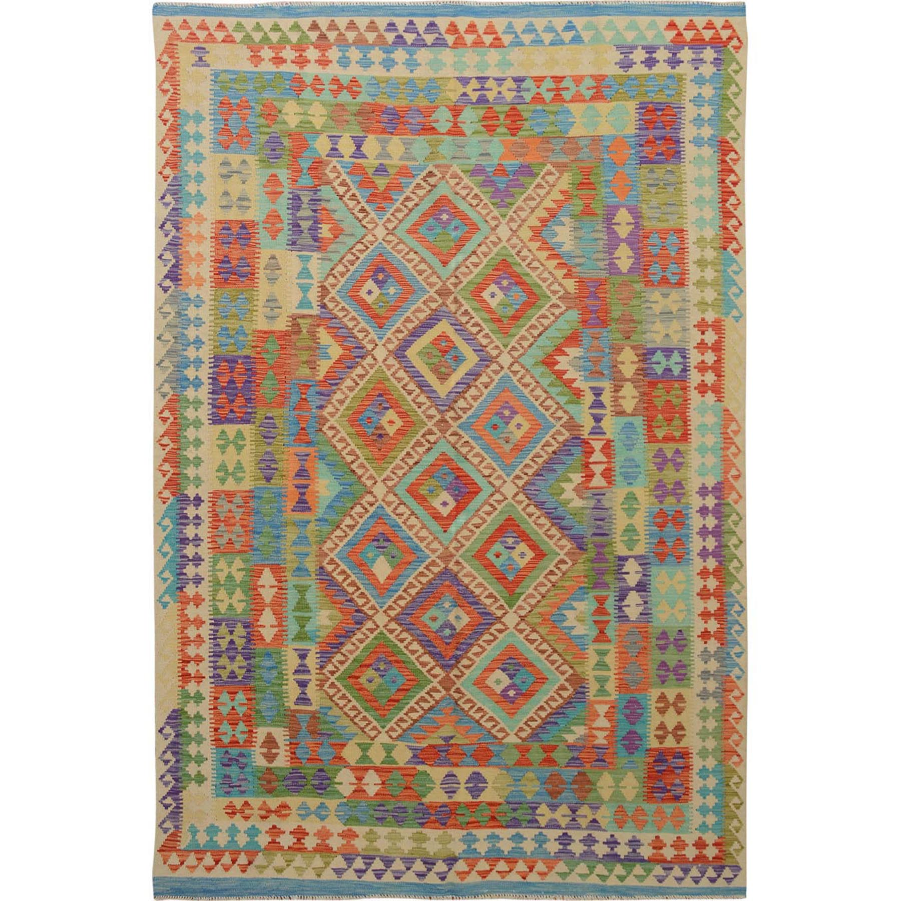 "6'7""x9'7"" Colorful Afghan Reversible Kilim Pure Wool Hand Woven Oriental Rug"