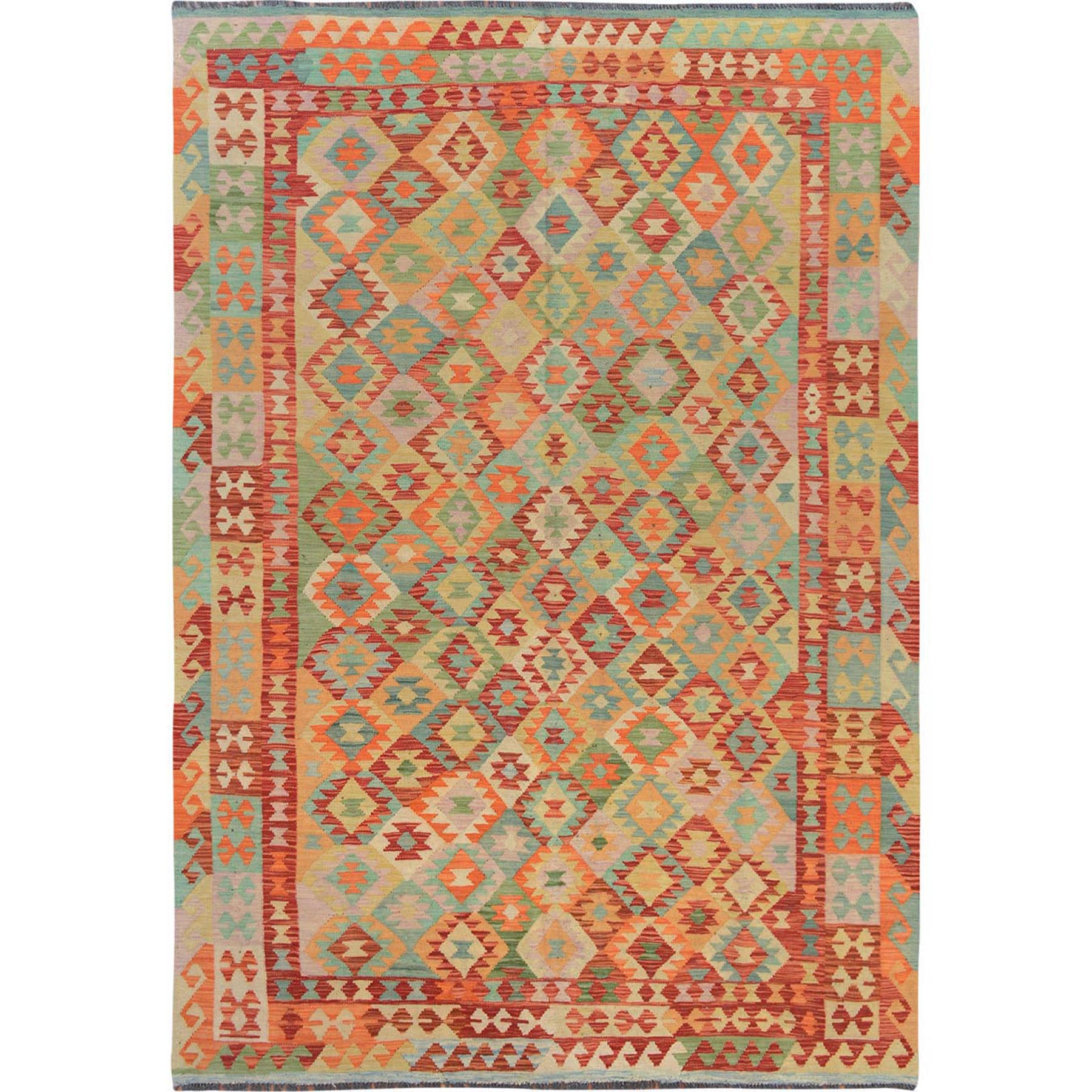 "6'8""x9'7"" Colorful Afghan Reversible Kilim Pure Wool Hand Woven Oriental Rug"