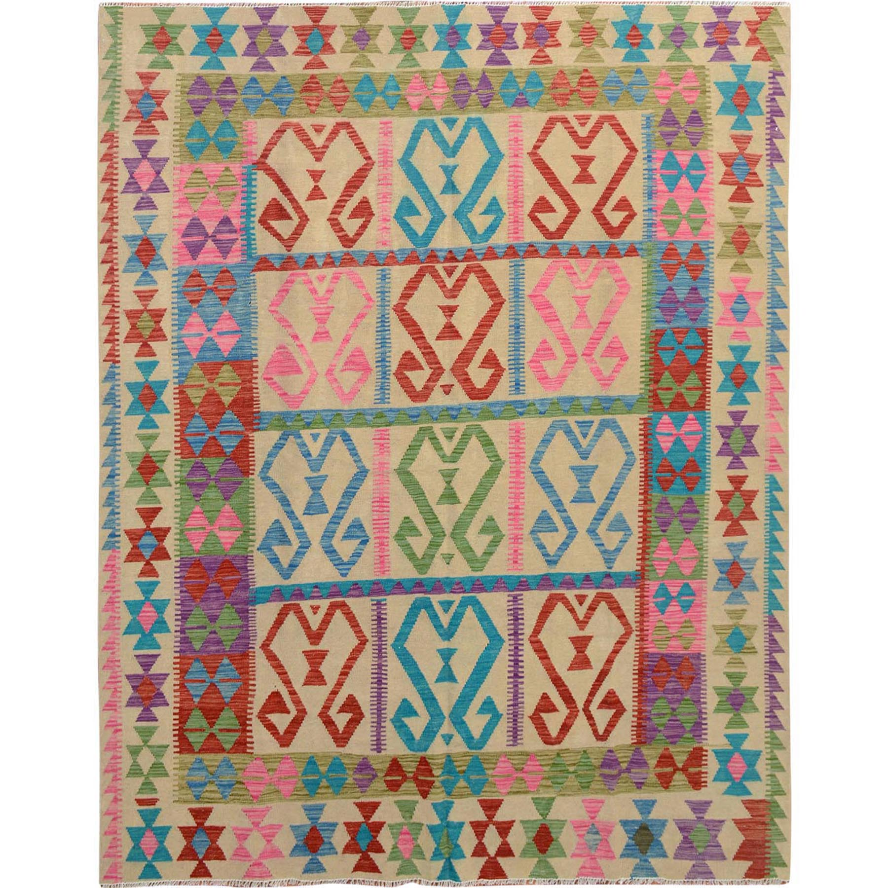 "6'9""x8'5"" Colorful Reversible Afghan Kilim Vegetable Dyes Pure Wool Hand Woven Oriental Rug"