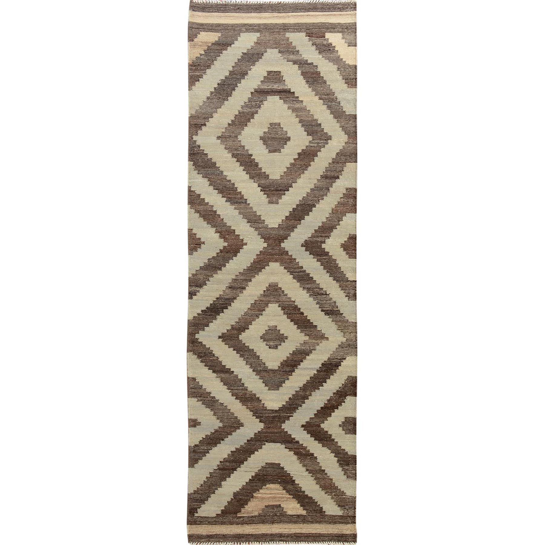 Natural Wool Reversible Afghan Kilim Flat weave Pure Wool Runner Hand Woven Oriental Rug