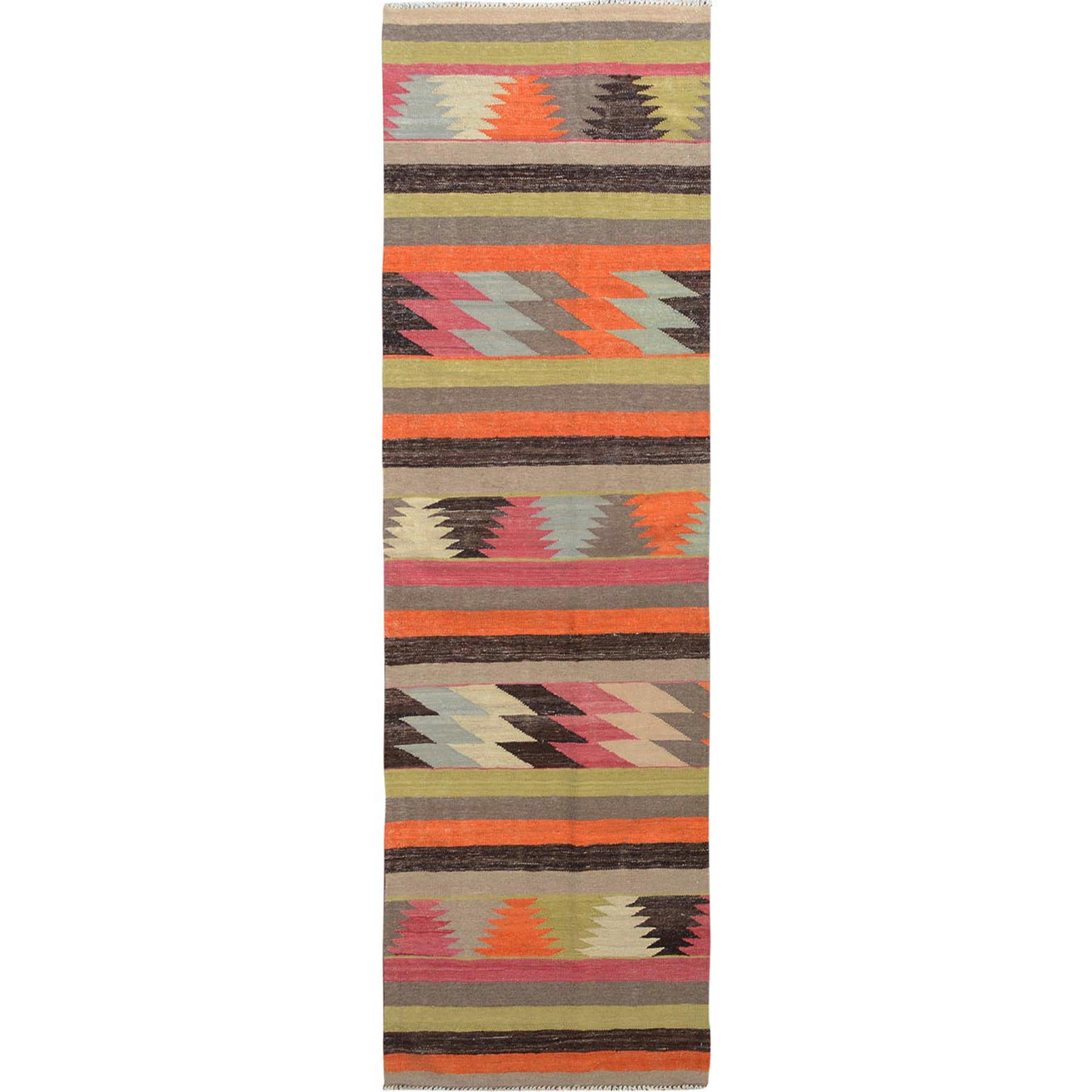 "2'7""x9'5"" Colorful Afghan Kilim Reversible Pure Wool Hand Woven Runner Oriental Rug"
