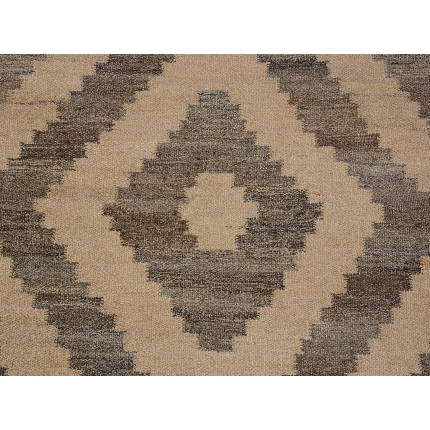"""2'9""""x9'9"""" Natural Wool Reversible Afghan Kilim Flat weave Pure Wool Runner Hand Woven Oriental Rug"""