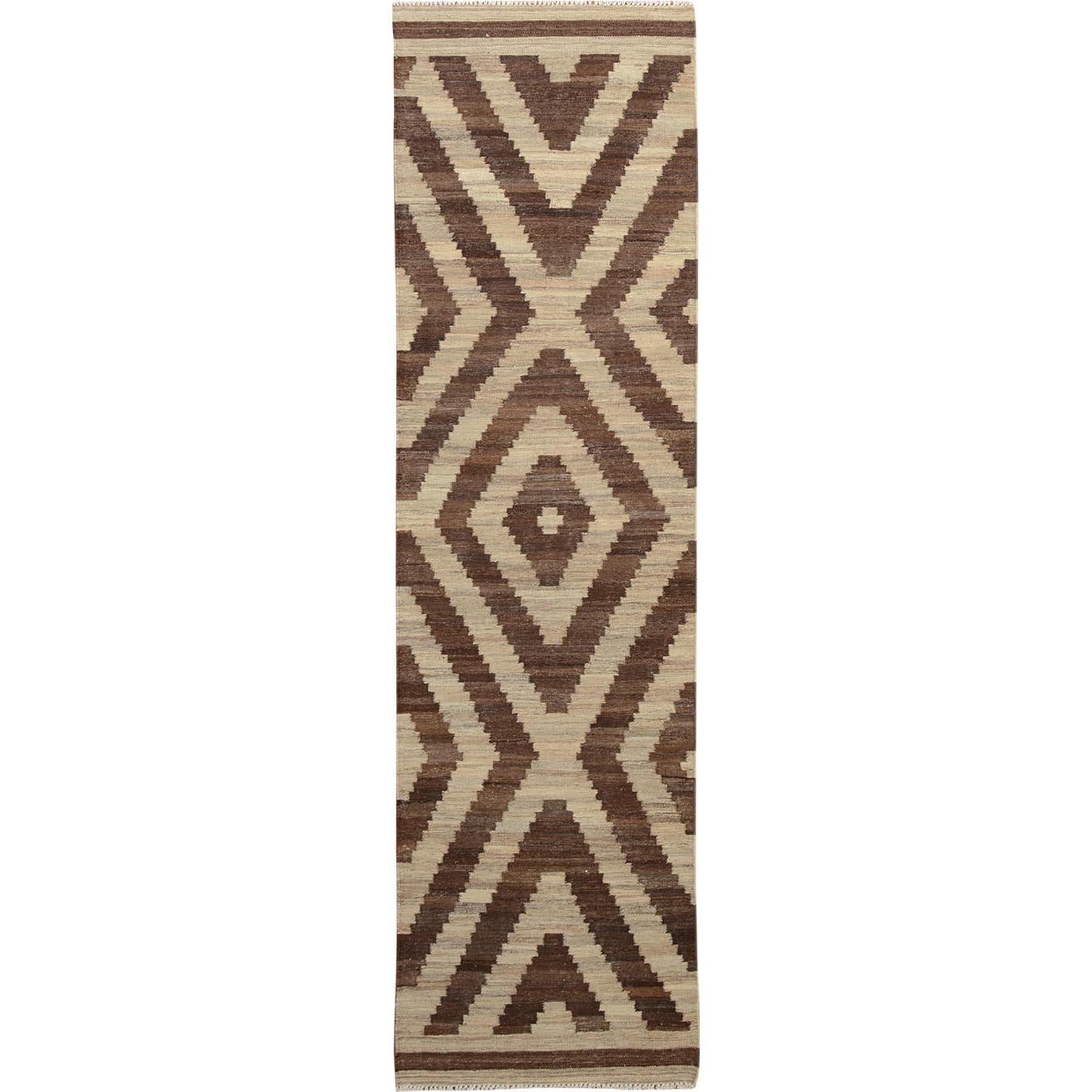 """2'8""""x9'10"""" Brown Reversible Afghan Kilim Flat weave Runner Hand Woven Oriental Rug"""