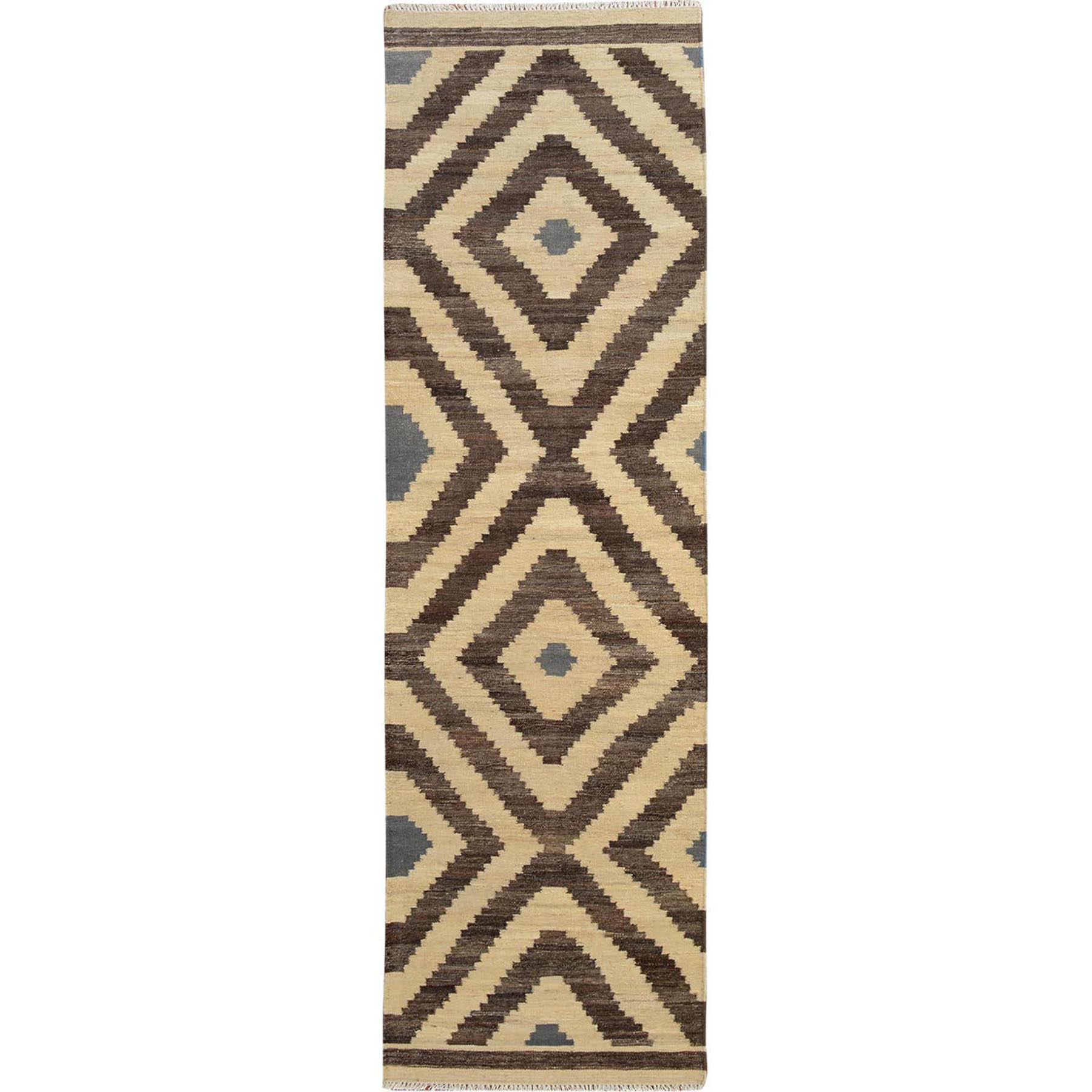 "2'9""X10' Brown Reversible Afghan Kilim Flat Weave Runner Pure Wool Hand Woven Oriental Rug moae7d7e"