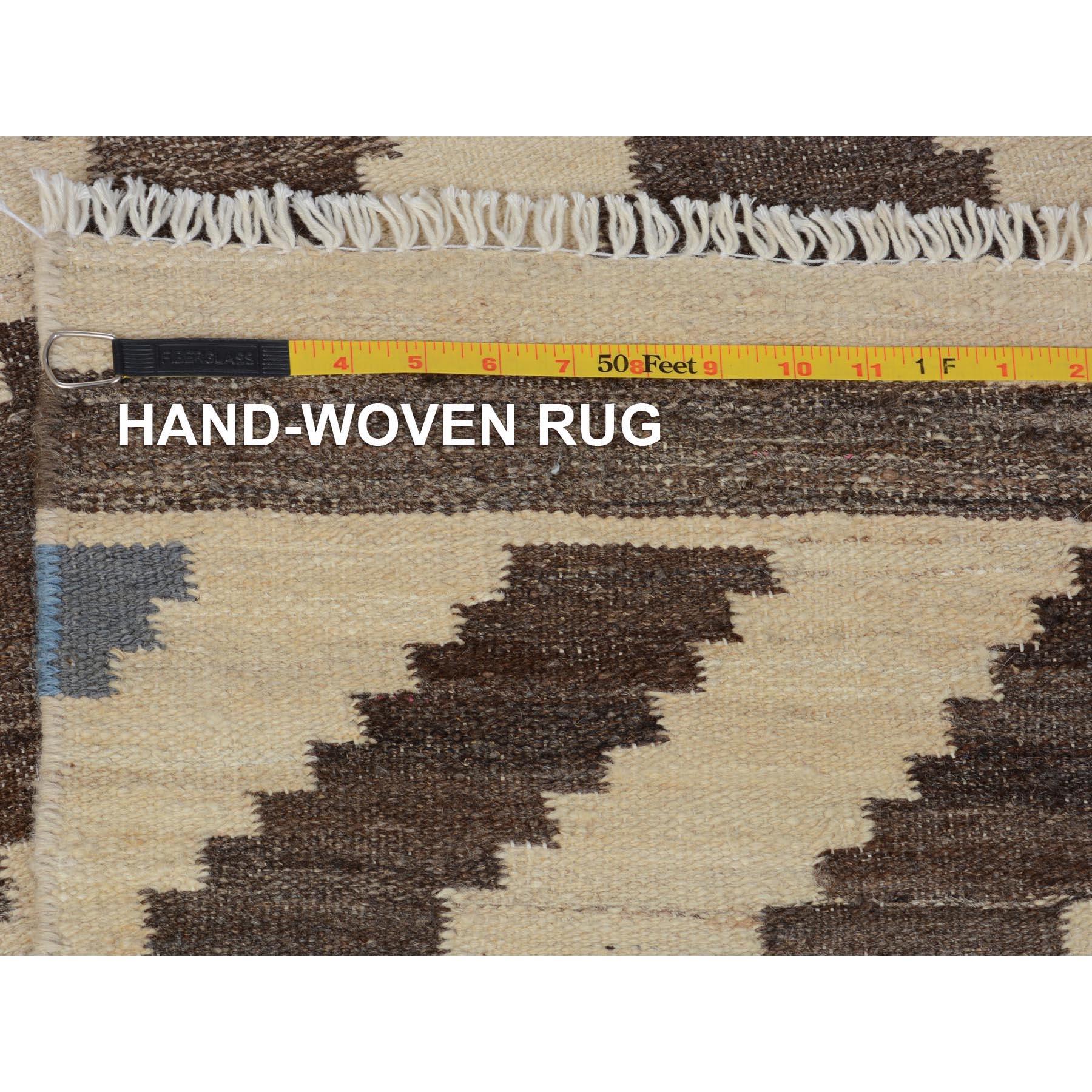 """2'9""""x10' Brown Reversible Afghan Kilim Flat Weave Runner Pure Wool Hand Woven Oriental Rug"""