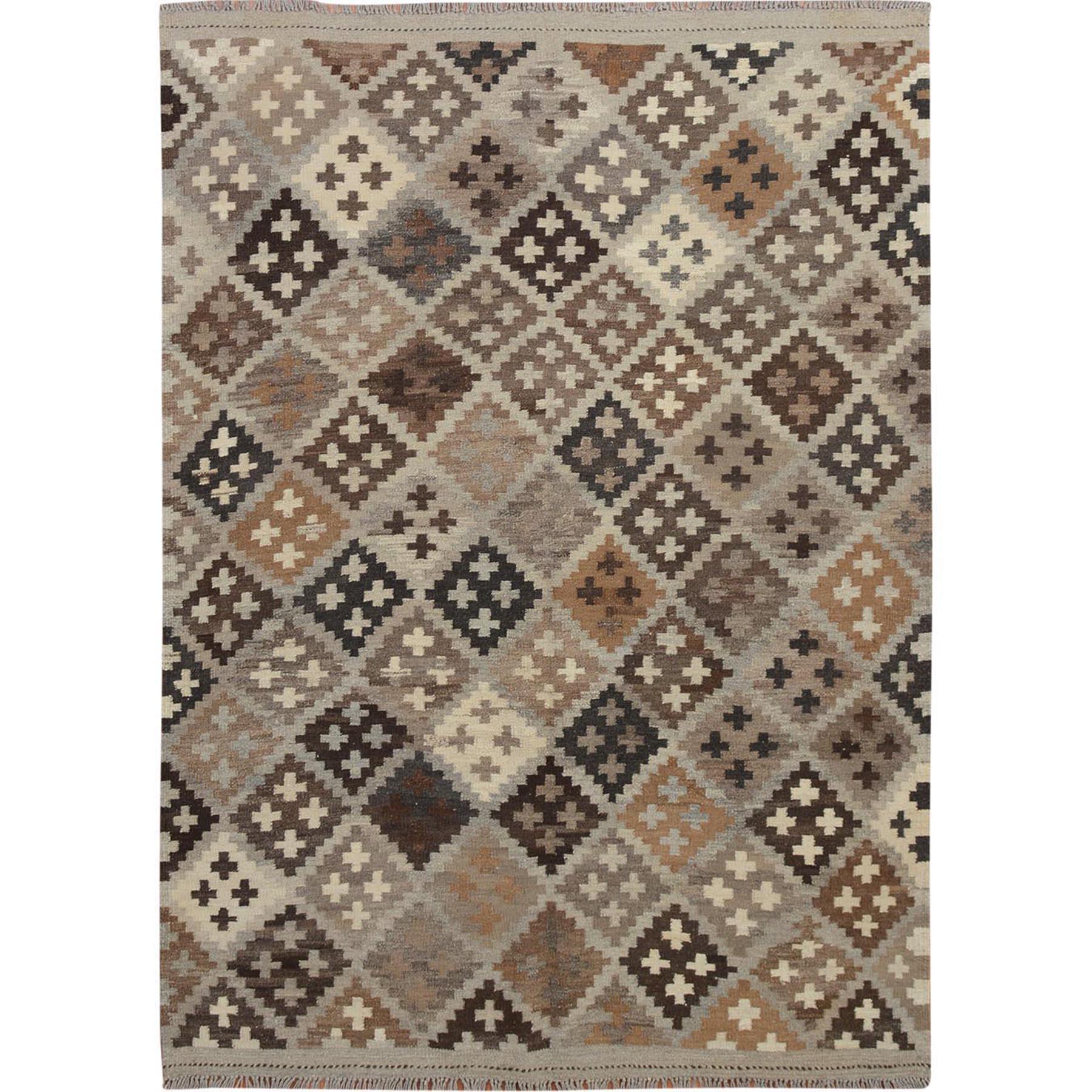 """5'2""""x6'10"""" Afghan Reversible Kilim Vegetable Dyes 100% Wool Hand Woven Oriental Rug"""