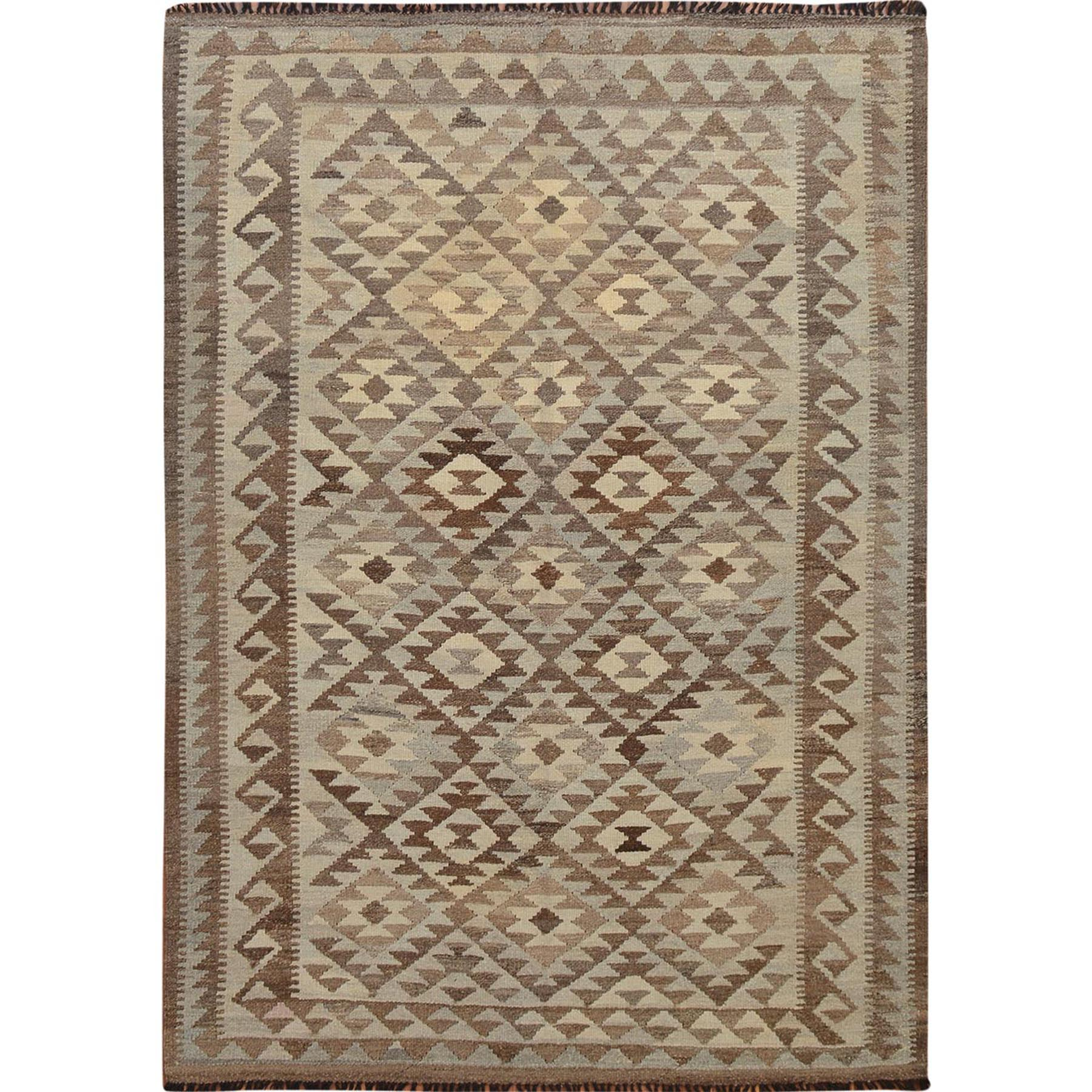 """4'9""""x6'7"""" Afghan Reversible Kilim Vegetable Dyes Pure Wool Hand Woven Oriental Rug"""