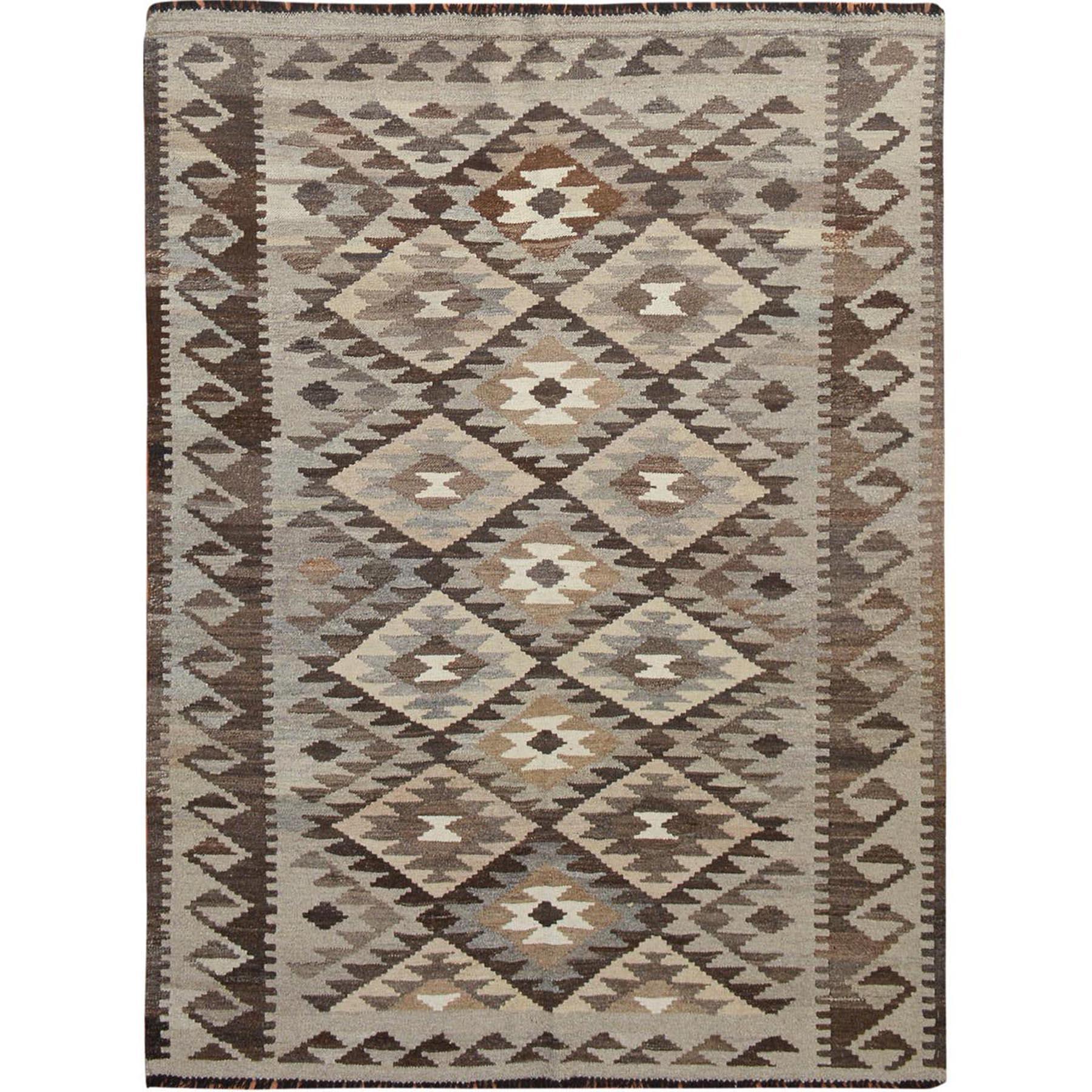 5'x6' Afghan Reversible Kilim Vegetable Dyes Pure Wool Hand Woven Oriental Rug