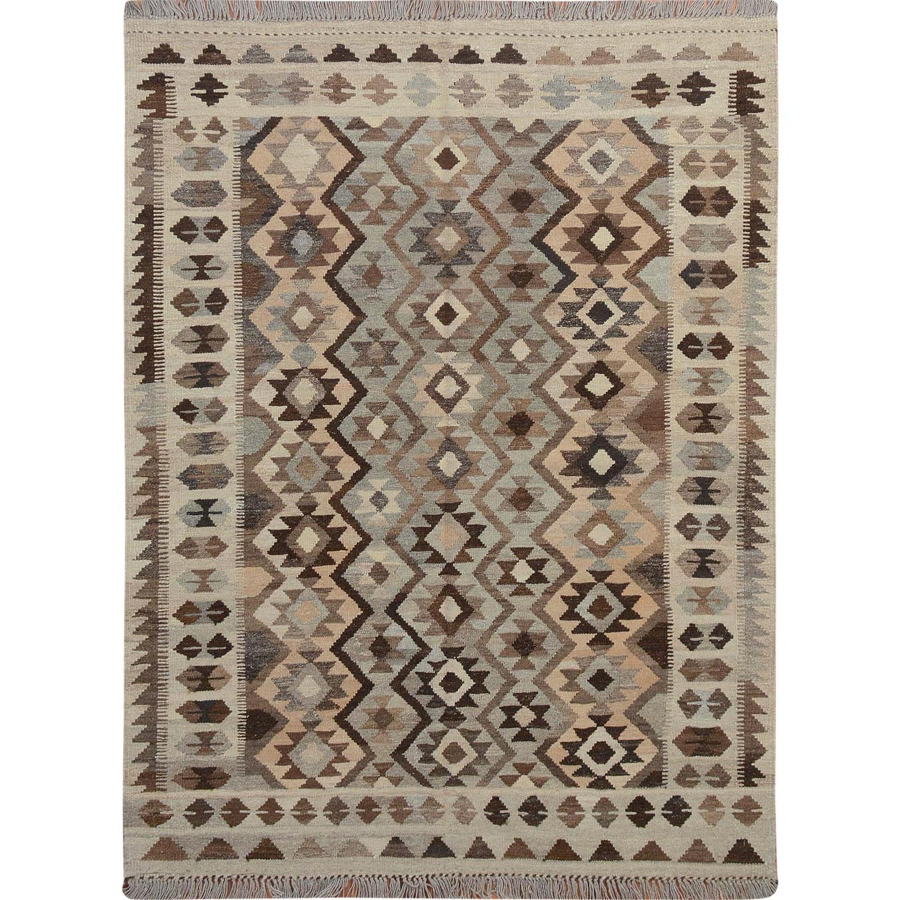 """5'x6'6"""" Afghan Reversible Kilim Vegetable Dyes Pure Wool Hand Woven Oriental Rug"""