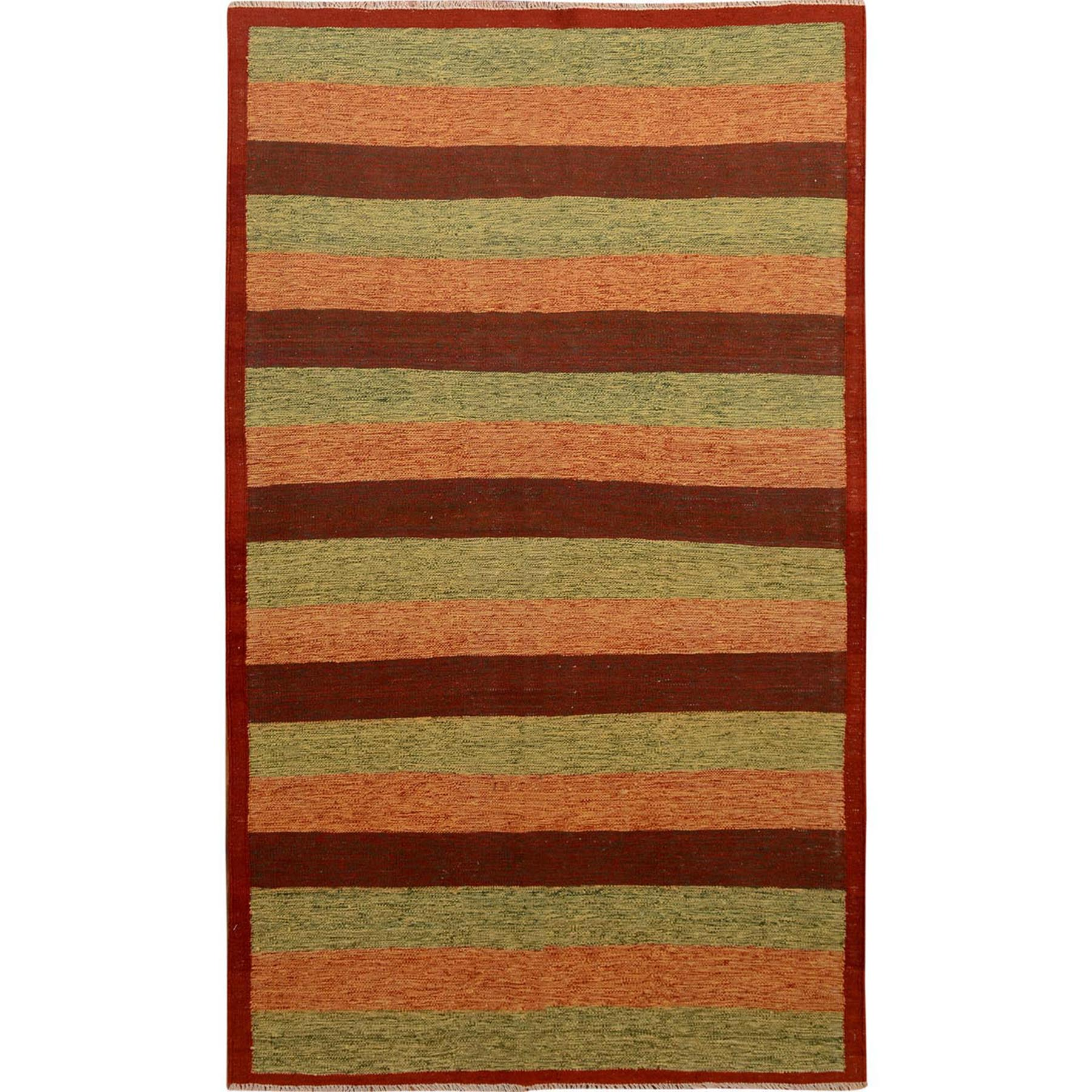 "4'9""X8' Colorful Afghan Reversible Kilim Pure Wool Hand Woven Striped Oriental Rug moae7e00"