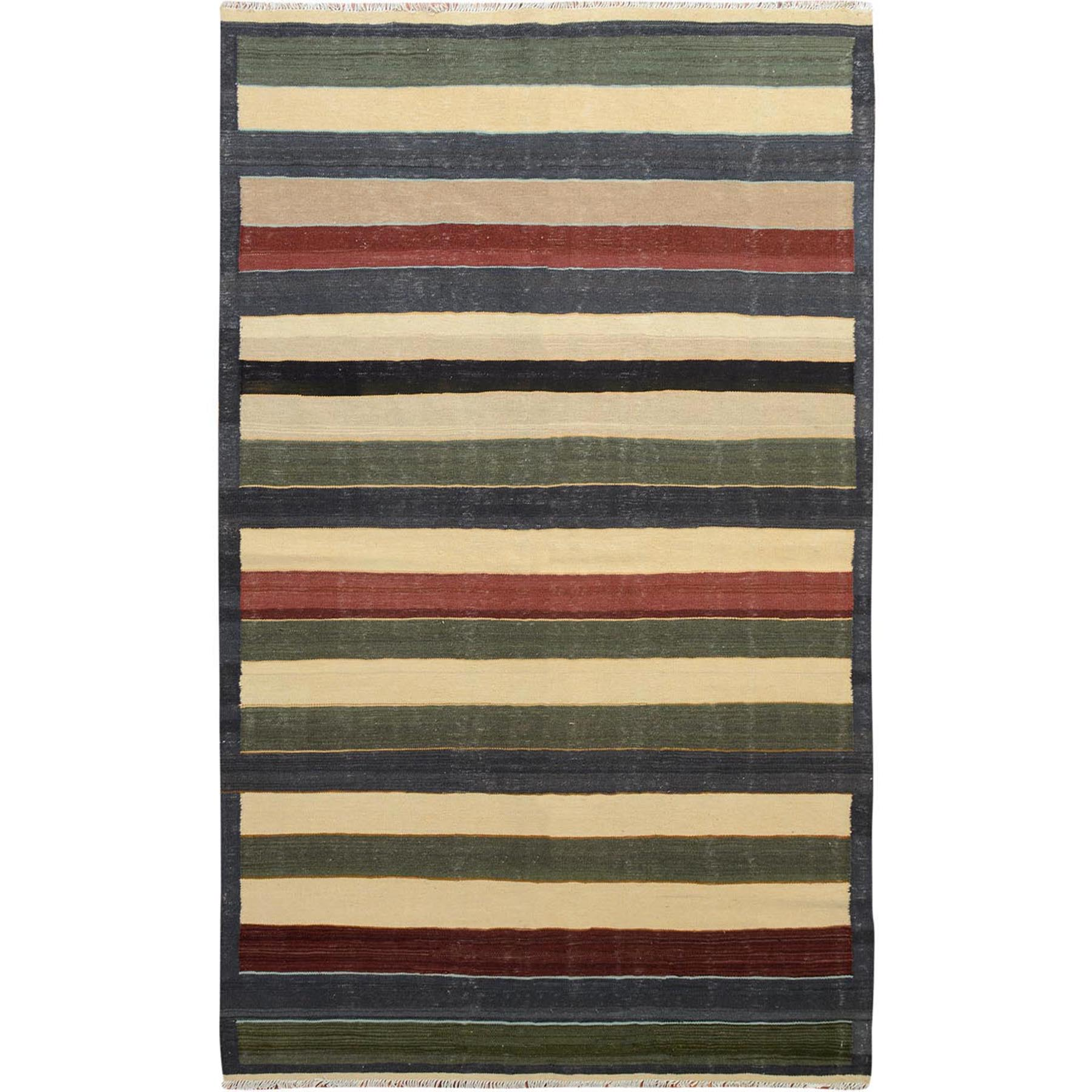 "5'X8'2"" Colorful Afghan Reversible Kilim Pure Wool Hand Woven Striped Oriental Rug moae7e0b"